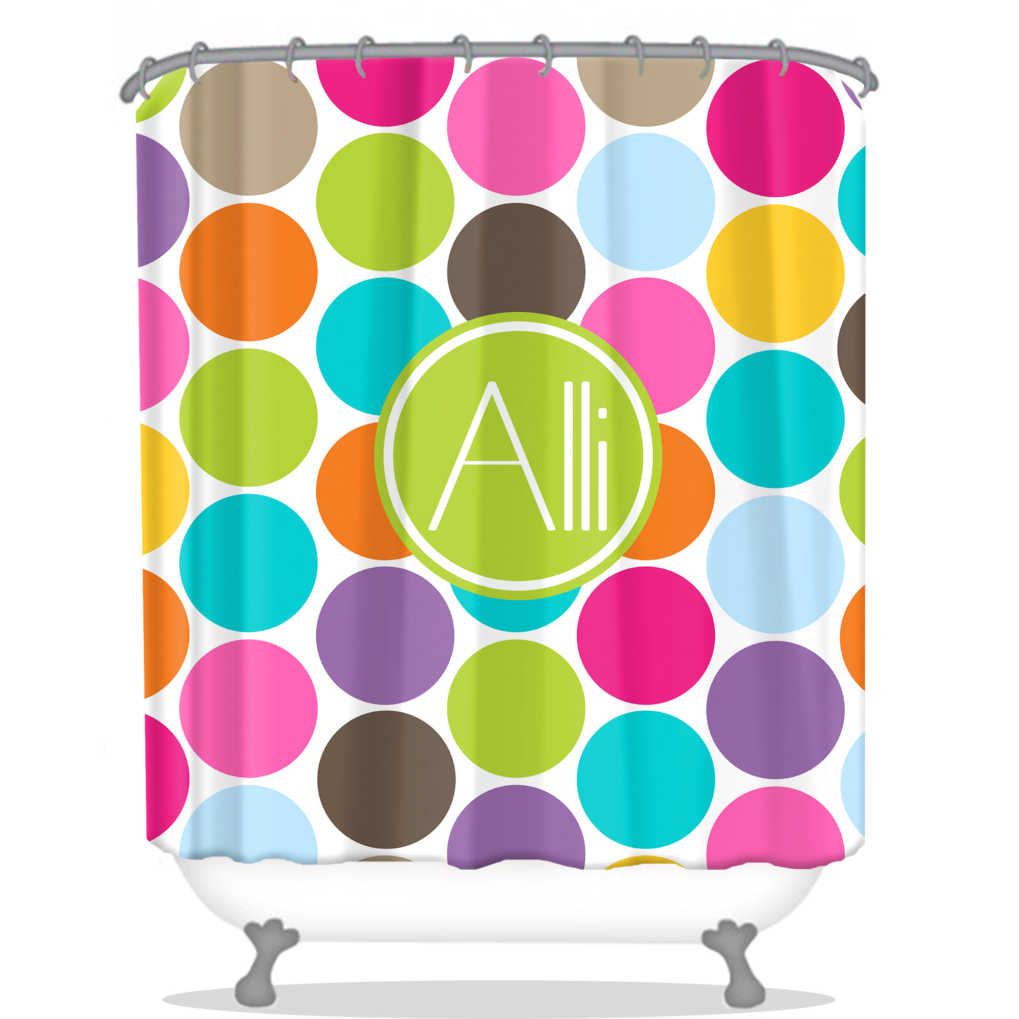 custom color personalized jumbo curtain monogrammed curtains shower multi dots white