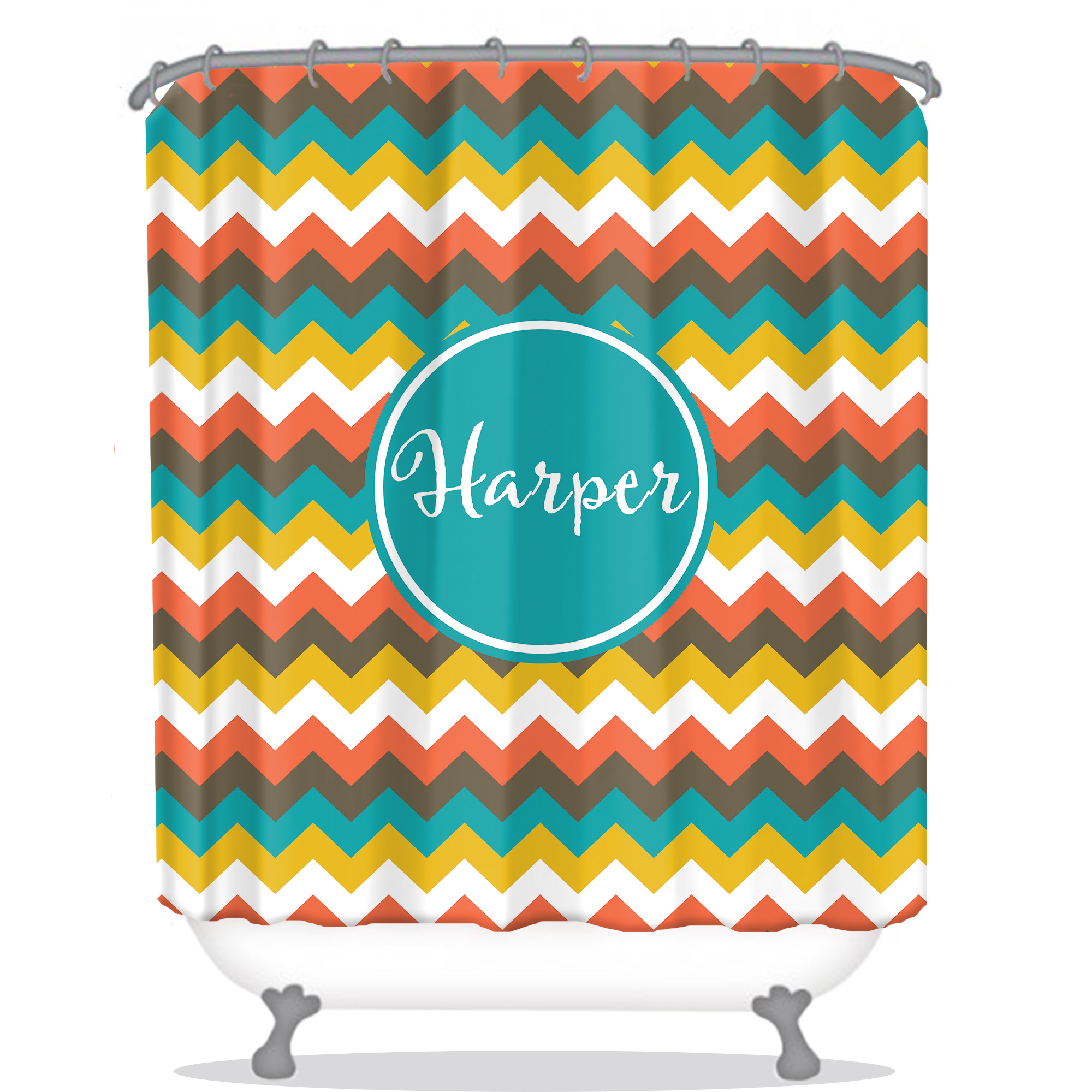 Chevron Personalized Shower Curtain | Monogrammed Shower Curtain ...