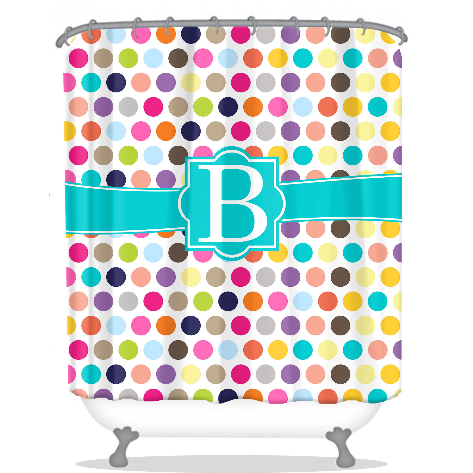 Polka Dots Personalized Shower Curtain Monogrammed Shower Curtain Custom Shower Curtain