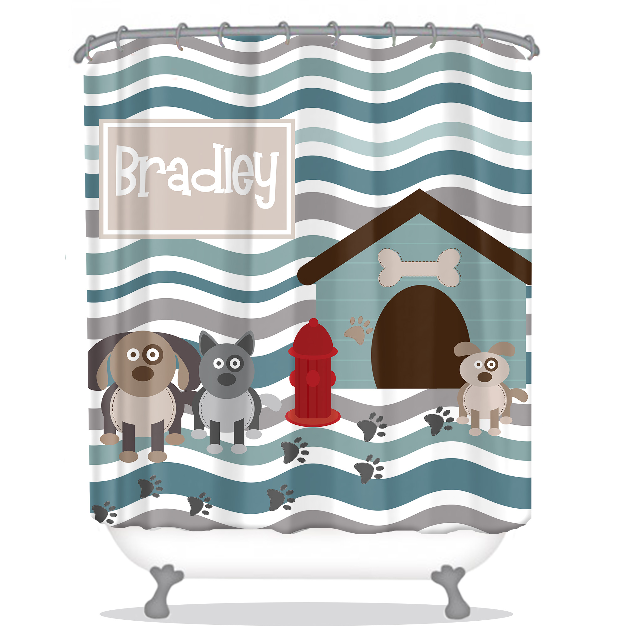 Puppies Kids Personalized Shower Curtain