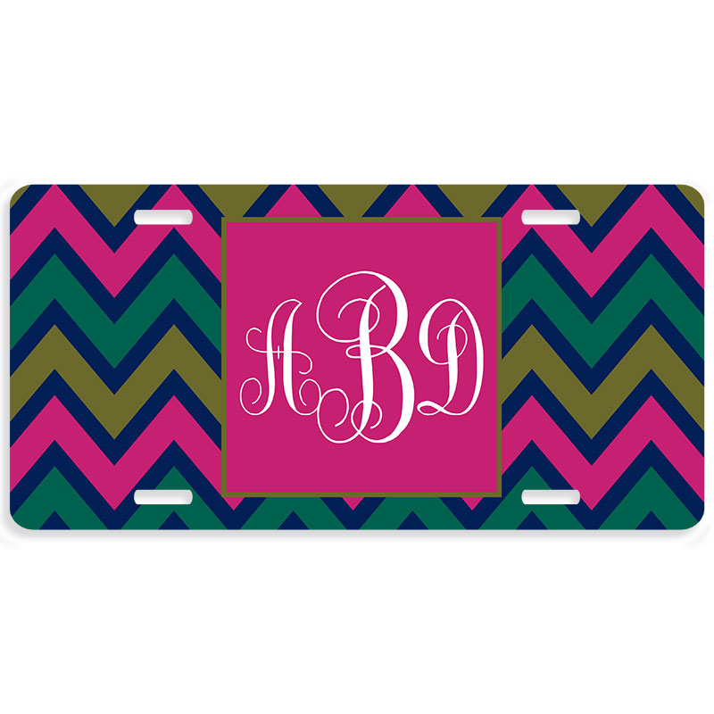 Rainforest Chevron Personalized Car Tag - Decorative License Plate  sc 1 st  Lime Rikee Designs : decorative licence plates - pezcame.com