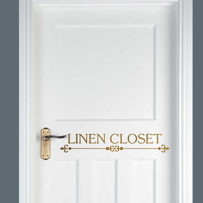 Linen closet vinyl door decal