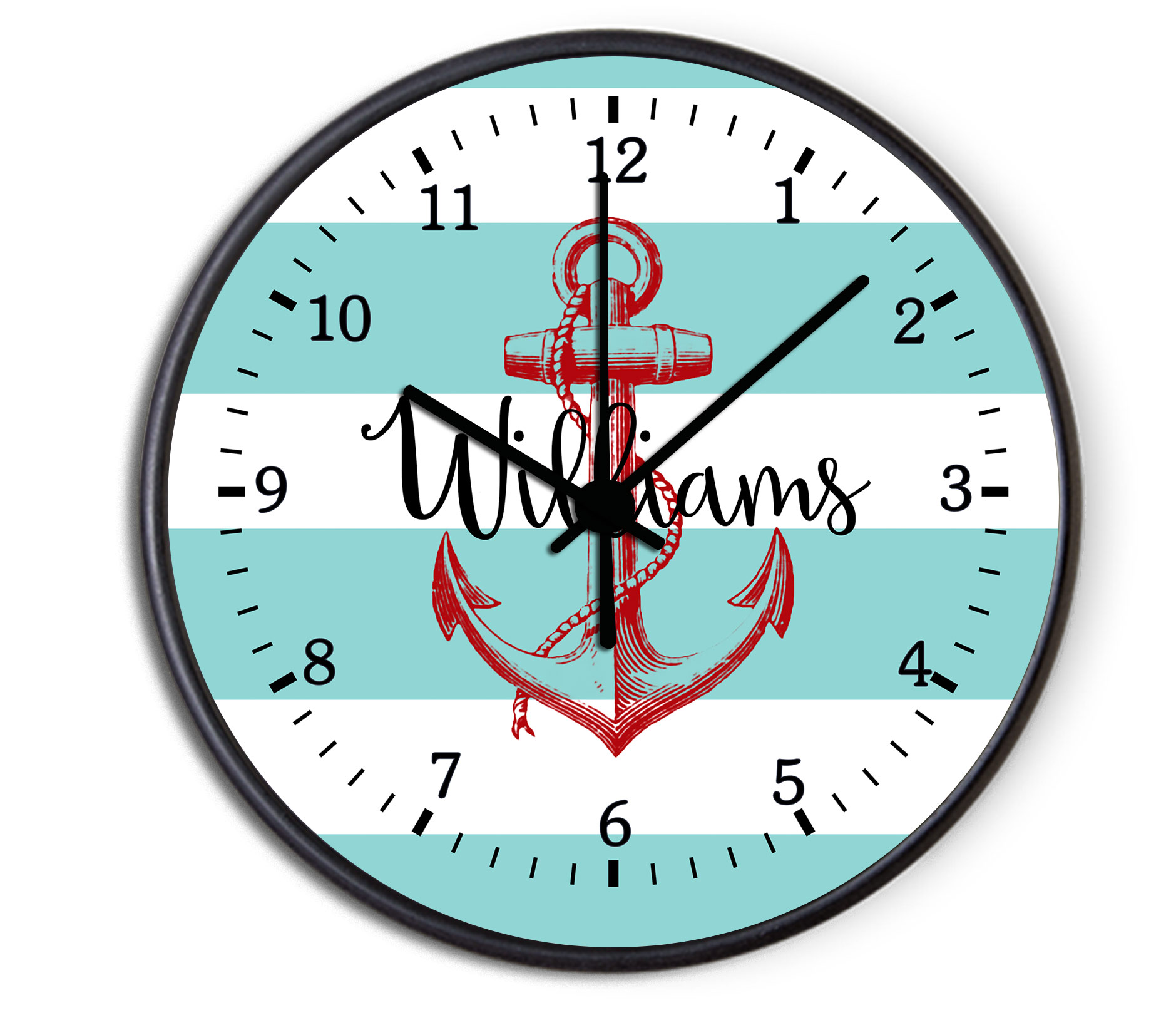 Nautical Anchor Personalized Decorative Wall Clock   Boys Or Girls Personalized  Clock