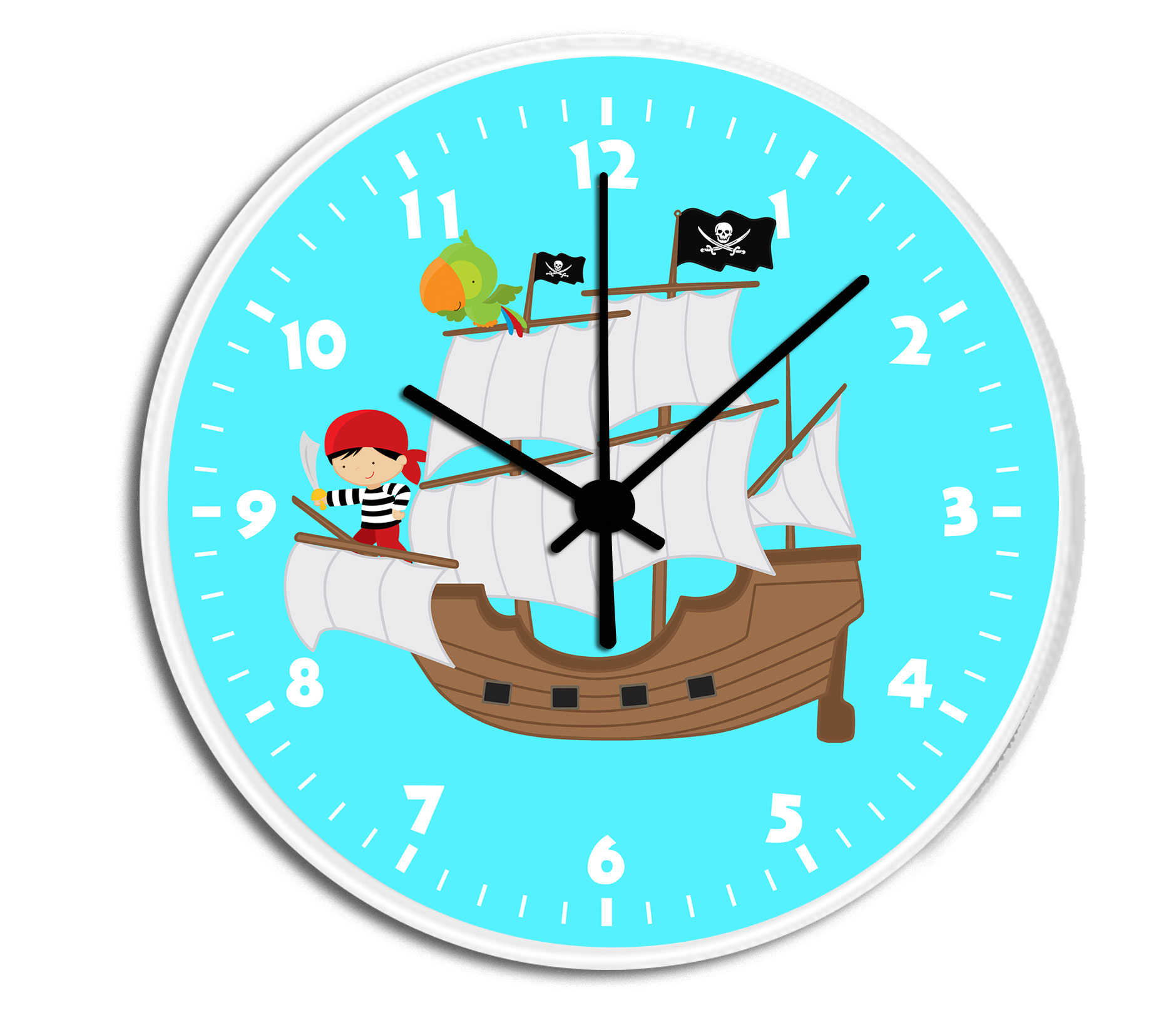 Pirate Ship Personalized Childrens Decorative Wall Clock Wall Clock