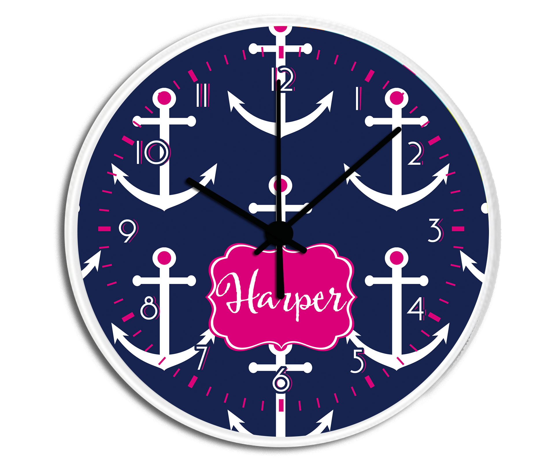 Preppy Anchors Personalized Decorative Wall Clock   Boys Or Girls Personalized  Clock