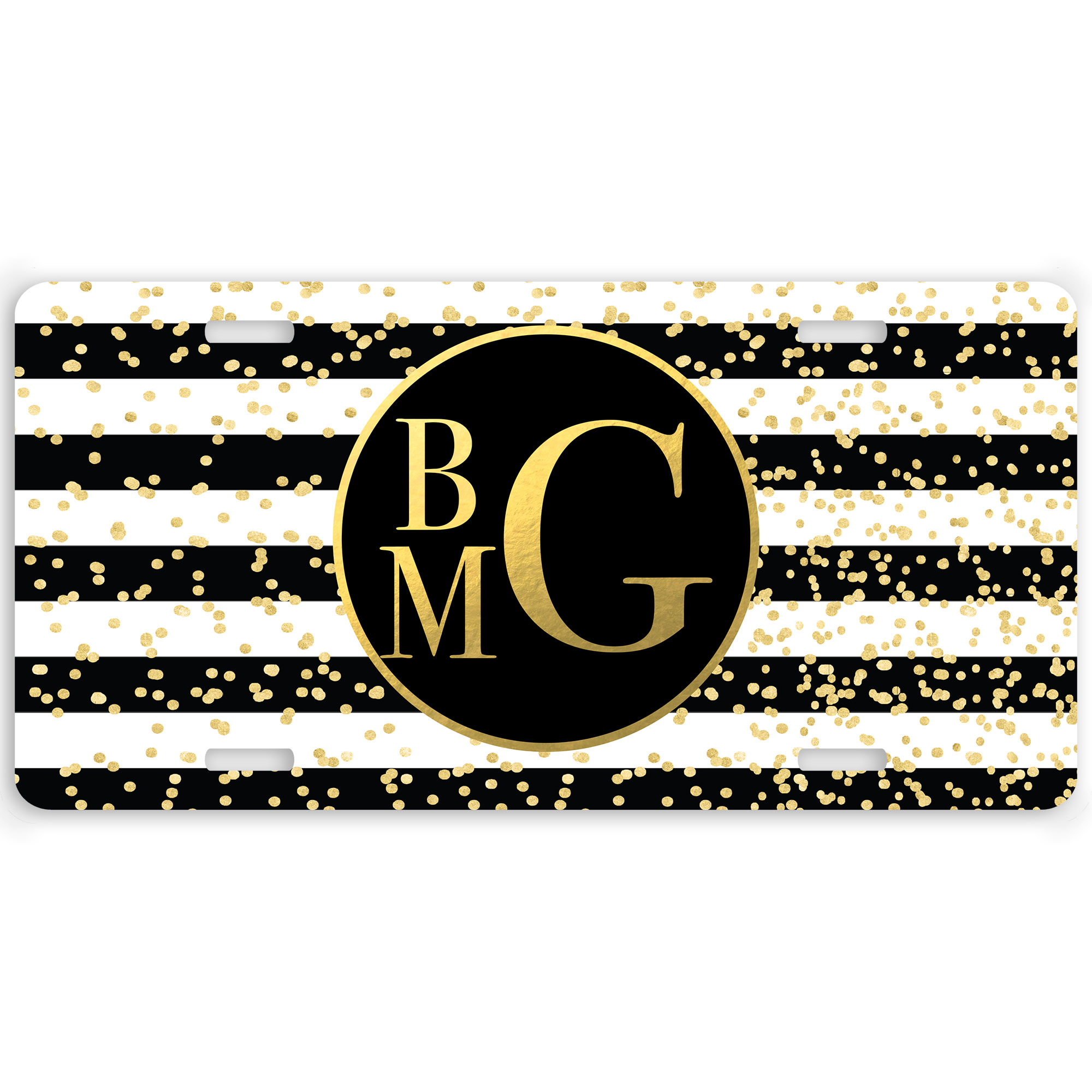 Glam Stripes Personalized Car Tag