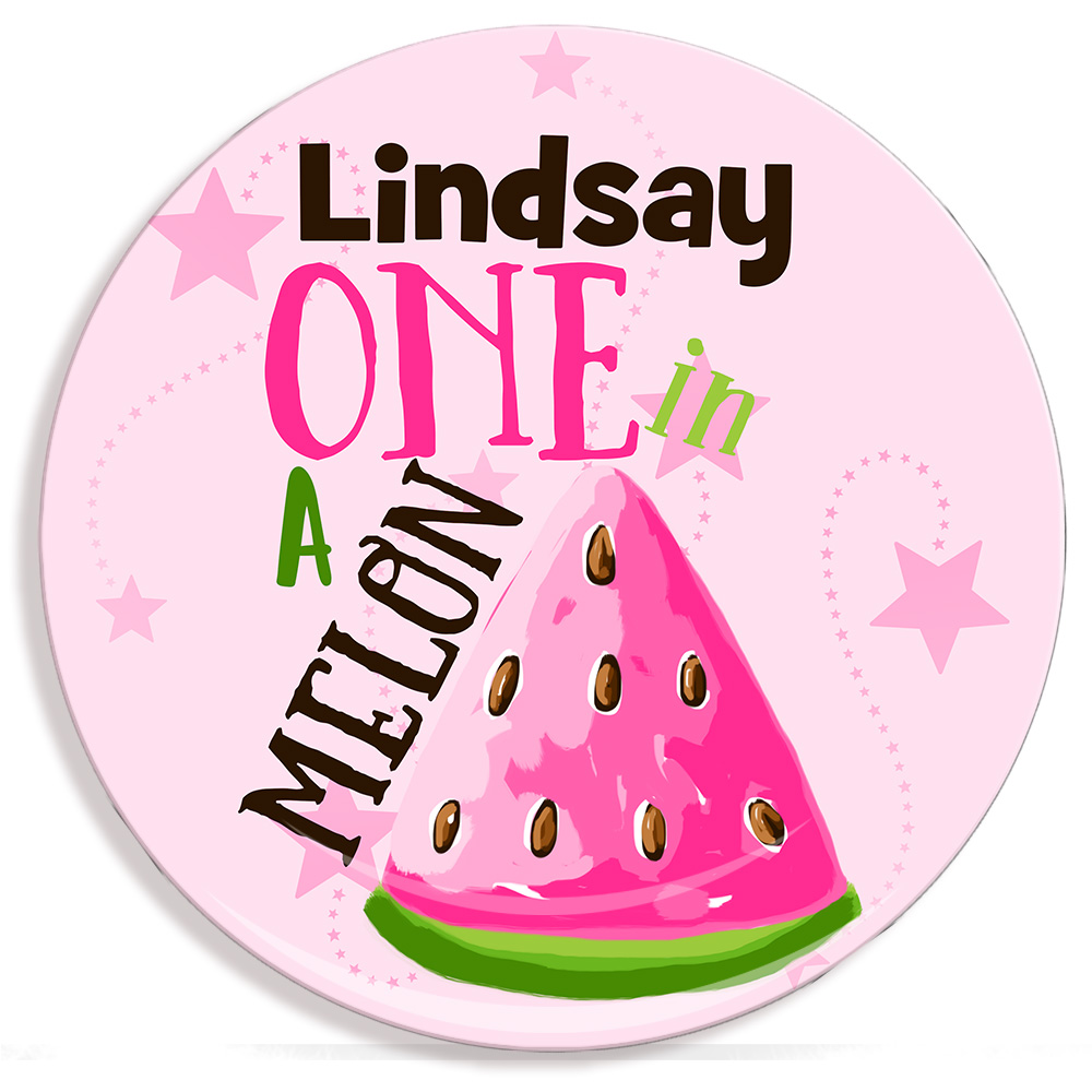 One In A Melon Personalized Microwave Safe Plate Kids Personalized Plates ...  sc 1 st  Lime Rikee Designs & Girls Personalized Microwave Safe Plate | Birthday Personalized ...