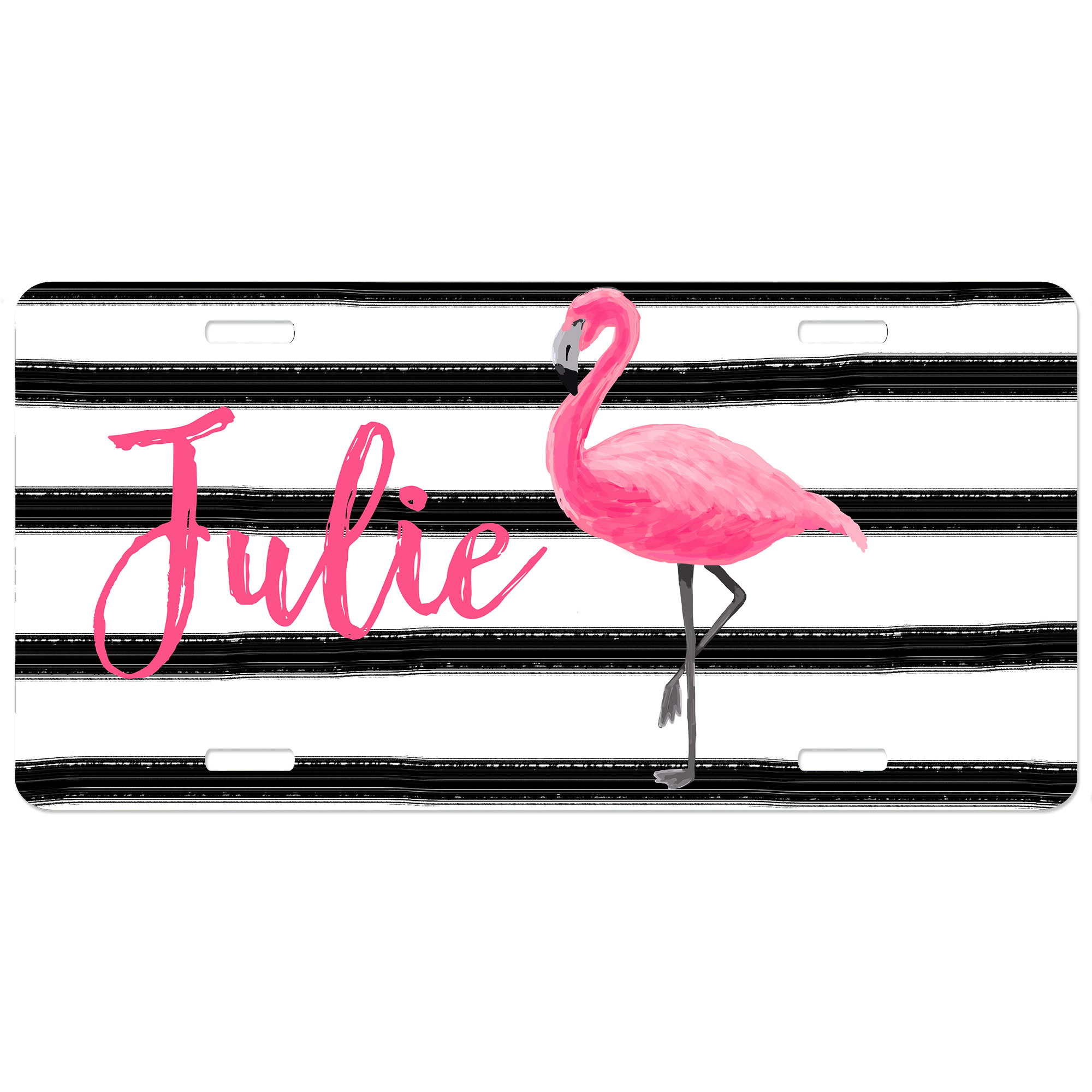 Flamingo Stripes Personalized Car Tag - Decorative License Plate Monogrammed License Plate | Personalized Decorative LIcense Plates | Vanity Plates  sc 1 st  Lime Rikee Designs & Flamingo Stripes Personalized Car Tag - Decorative License Plate ...