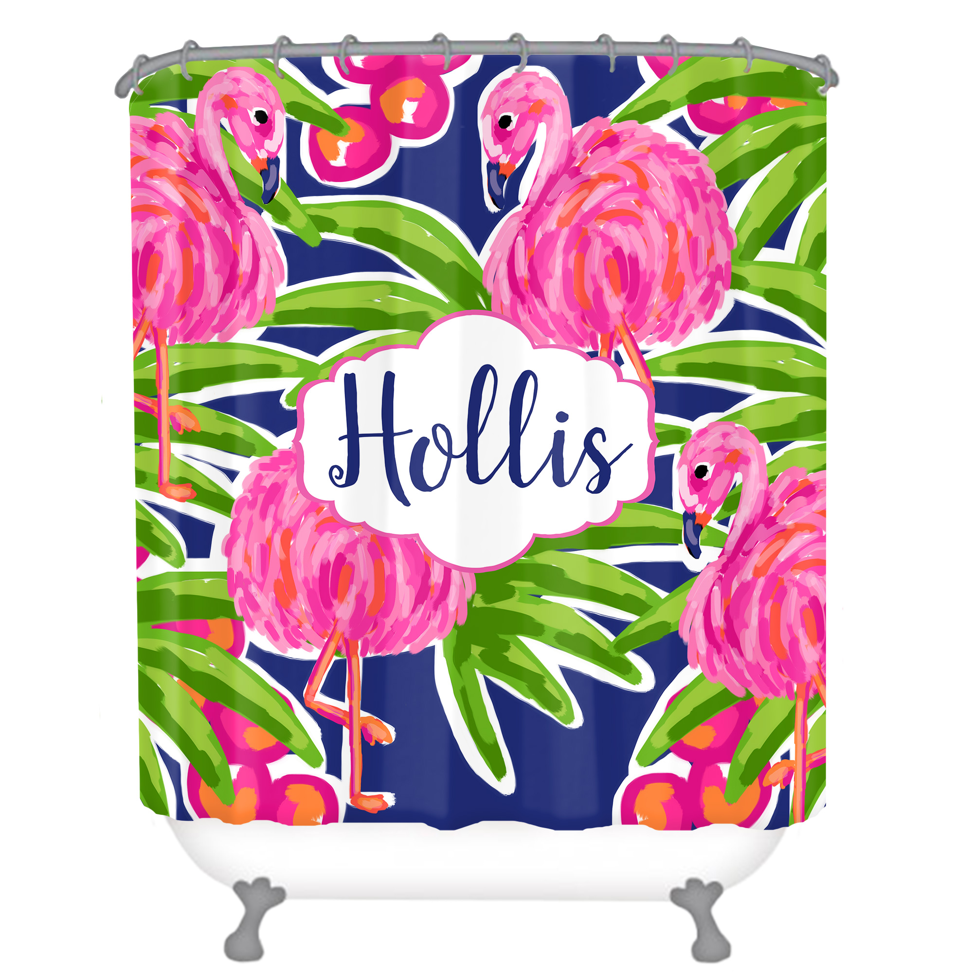 Pink Flamingos Personalized Shower Curtain