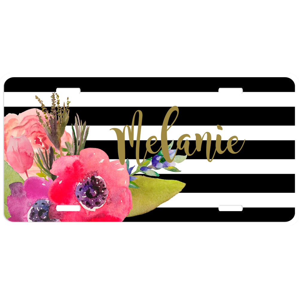 Watercolor Flower Stripes Personalized Car Tag - Decorative License Plate Monogrammed License Plate  sc 1 st  Lime Rikee Designs & Flamingo Stripes Personalized Car Tag - Decorative License Plate ...