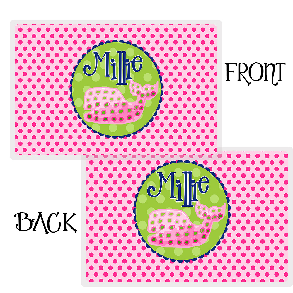 polka dot whale personalized placemat girls personalized placemat