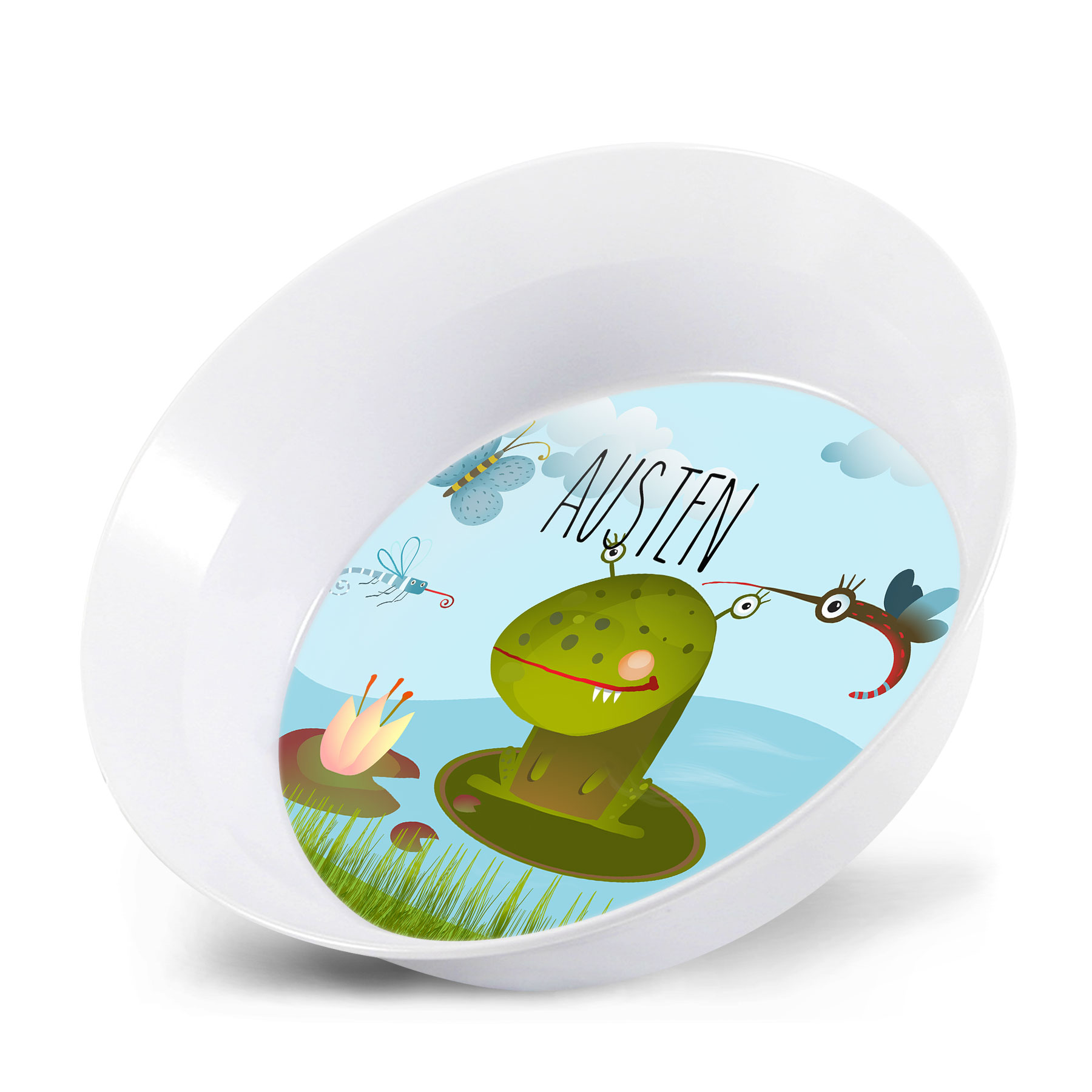 Personalized Kids Bowl - Frog Monster Matching Plate Plate Set ...  sc 1 st  Lime Rikee Designs & Personalized Kids Bowl - Frog Monster | Monster Frog Personalized ...