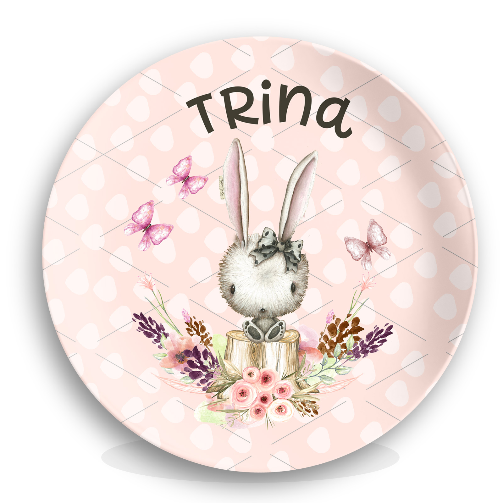 Personalized Kids Plate - Bunny Girls Easter Plate ...  sc 1 st  Lime Rikee Designs & Personalized Kids Plate - Bunny Girls Easter Plate Unique Birthday ...