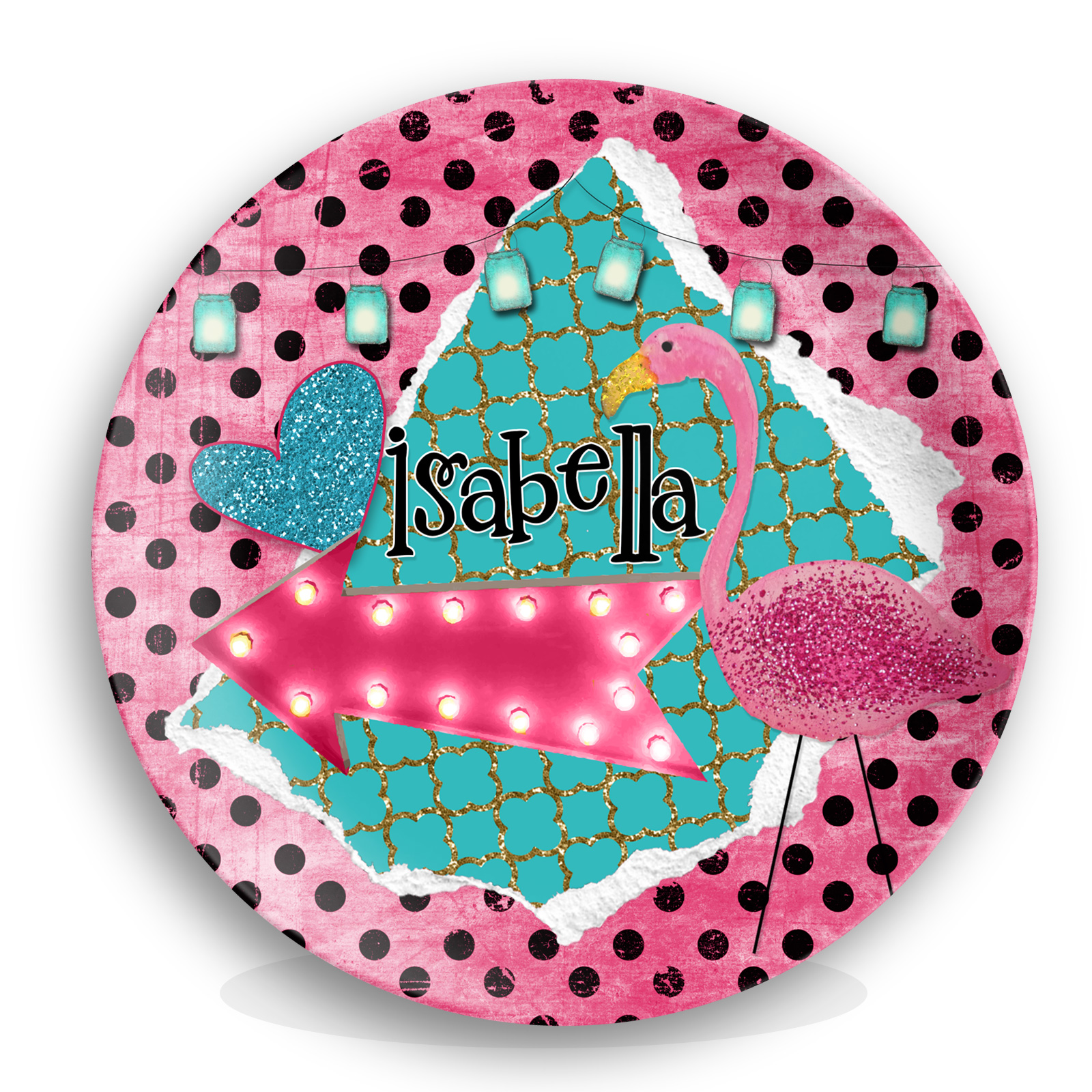 Personalized Kids Melamine Plate - Polka Dot Flamingo ...  sc 1 st  Lime Rikee Designs & Personalized Plate Set Polka Dot Flamingo Melamine | Pink Flamingo ...