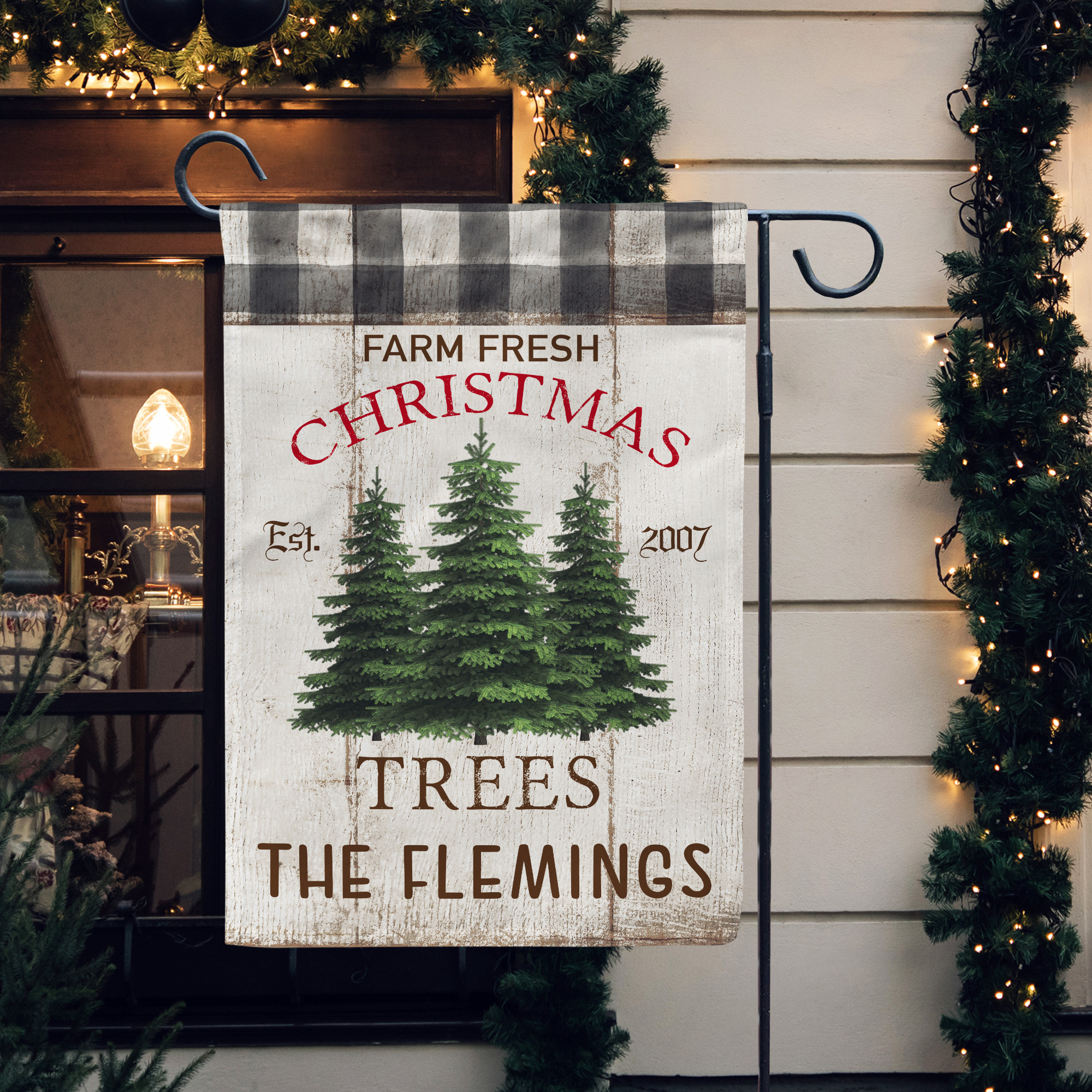 Personalized Farm Fresh Trees Black White Buffalo Plaid Christmas Garden Flag Decorative Garden Flag Personalized Garden Flag Yard Flag Personalized Garden Flag