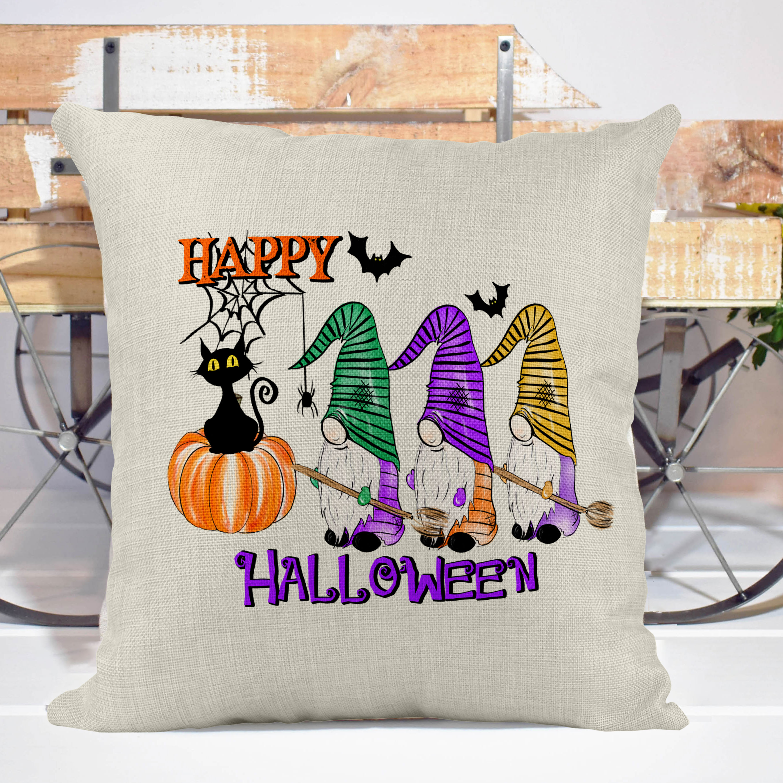 Happy Halloween Poly Linen Pillow Cover Halloween Decor Halloween Pillows Decorative Throw Pillow Farm House Style Decorative Pillow