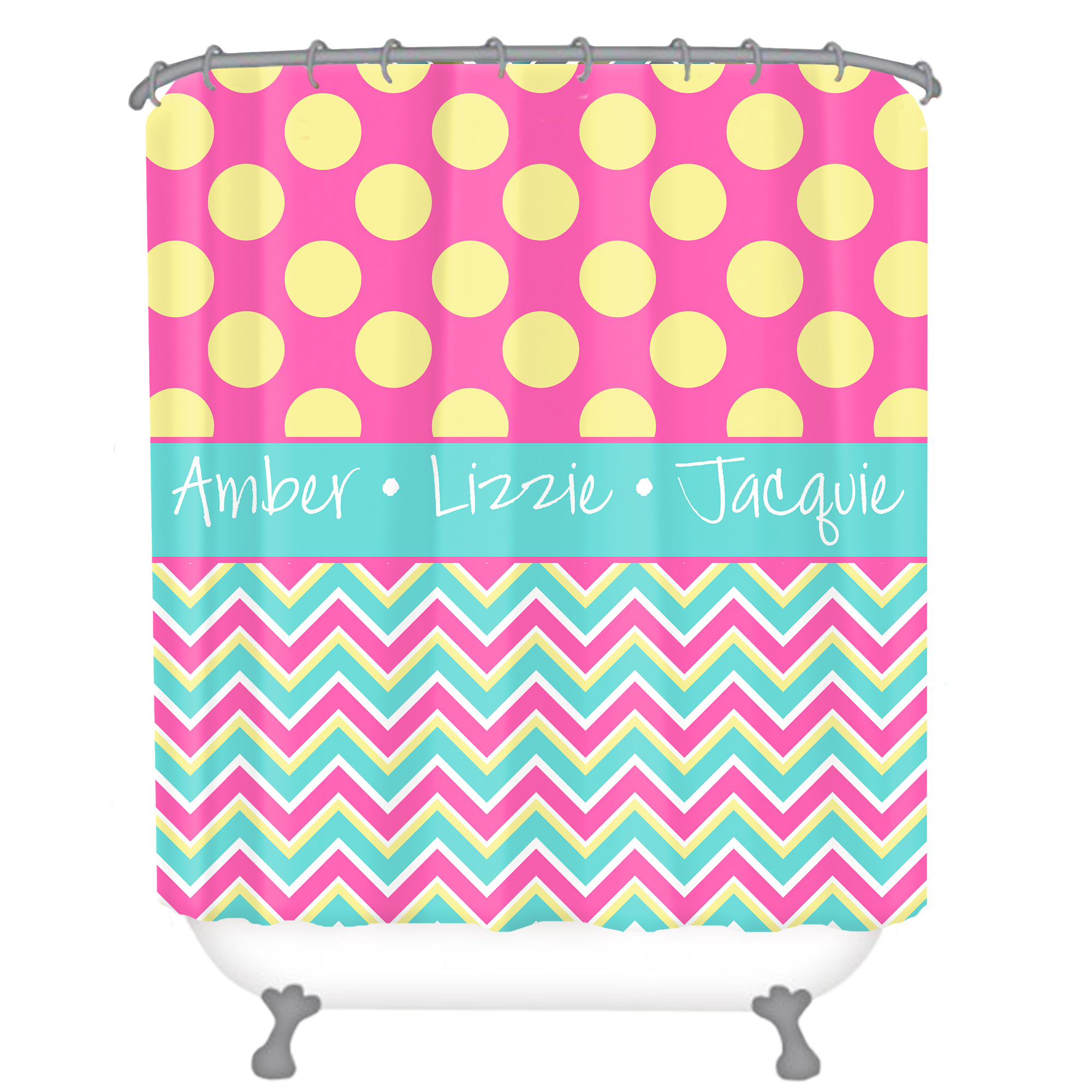 Aqua Chevron Shower Curtain - Chevron polka dot personalized shower curtain