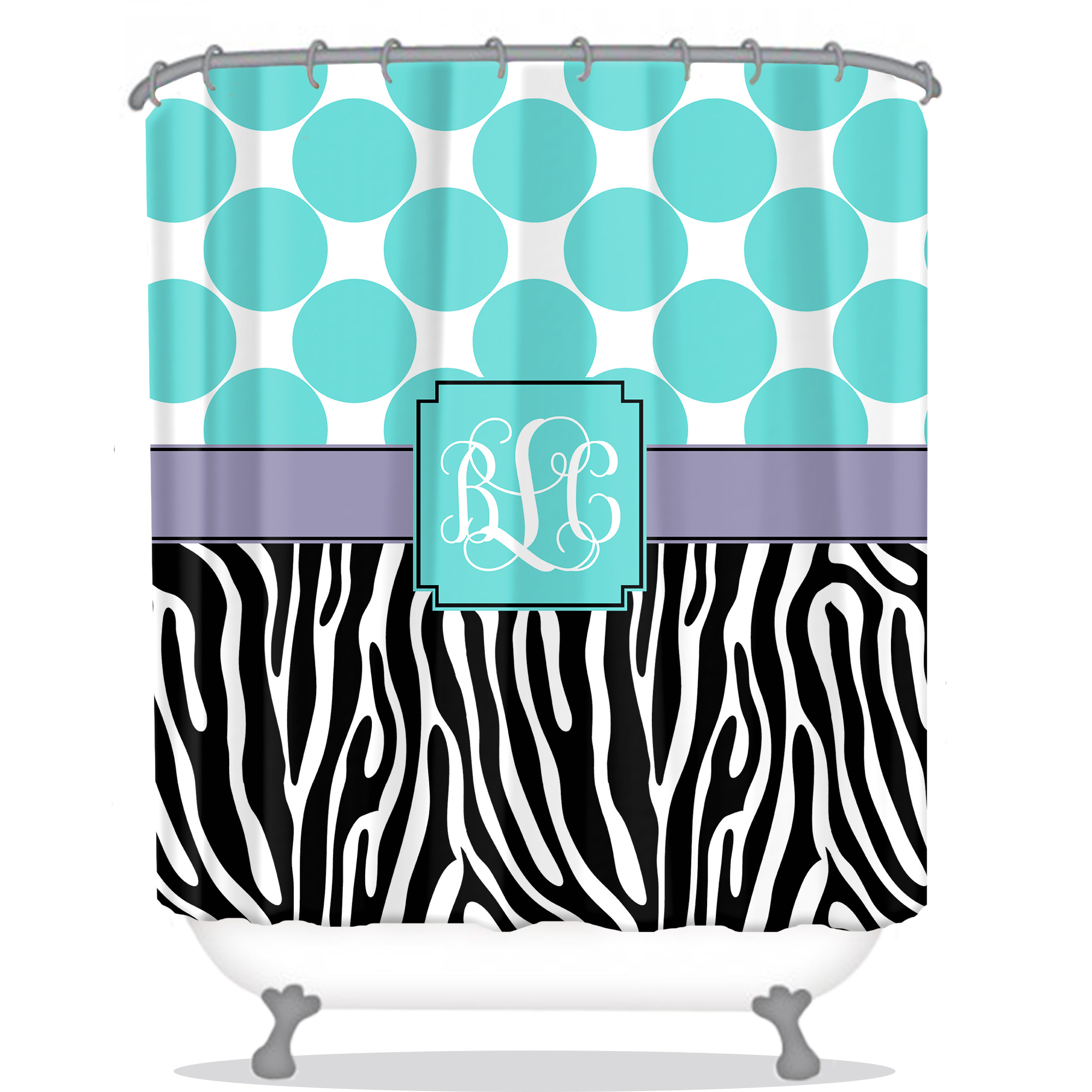 Zebra Personalized Shower Curtain Monogrammed Shower Curtain Custom Shower Curtain