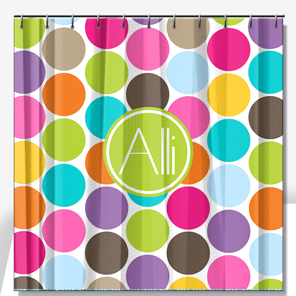 Delightful ... Personalized Shower Curtain Multi Color Jumbo Dots