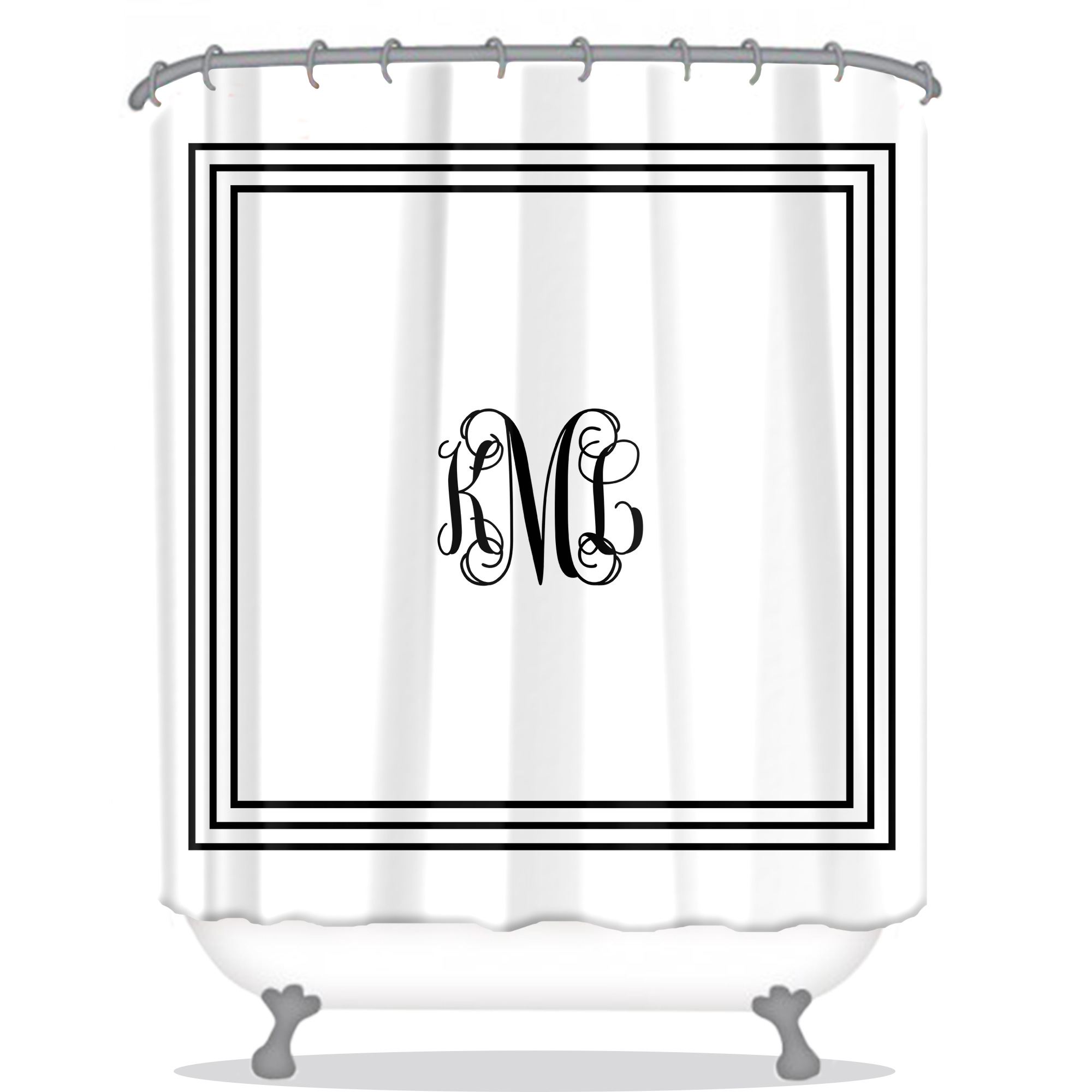 Classic Monogram Personalized Shower Curtain Monogrammed Shower Curtain Custom Shower