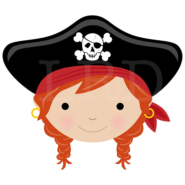 Pirate Face Girls Personalized Plate Pirate Plate Kids