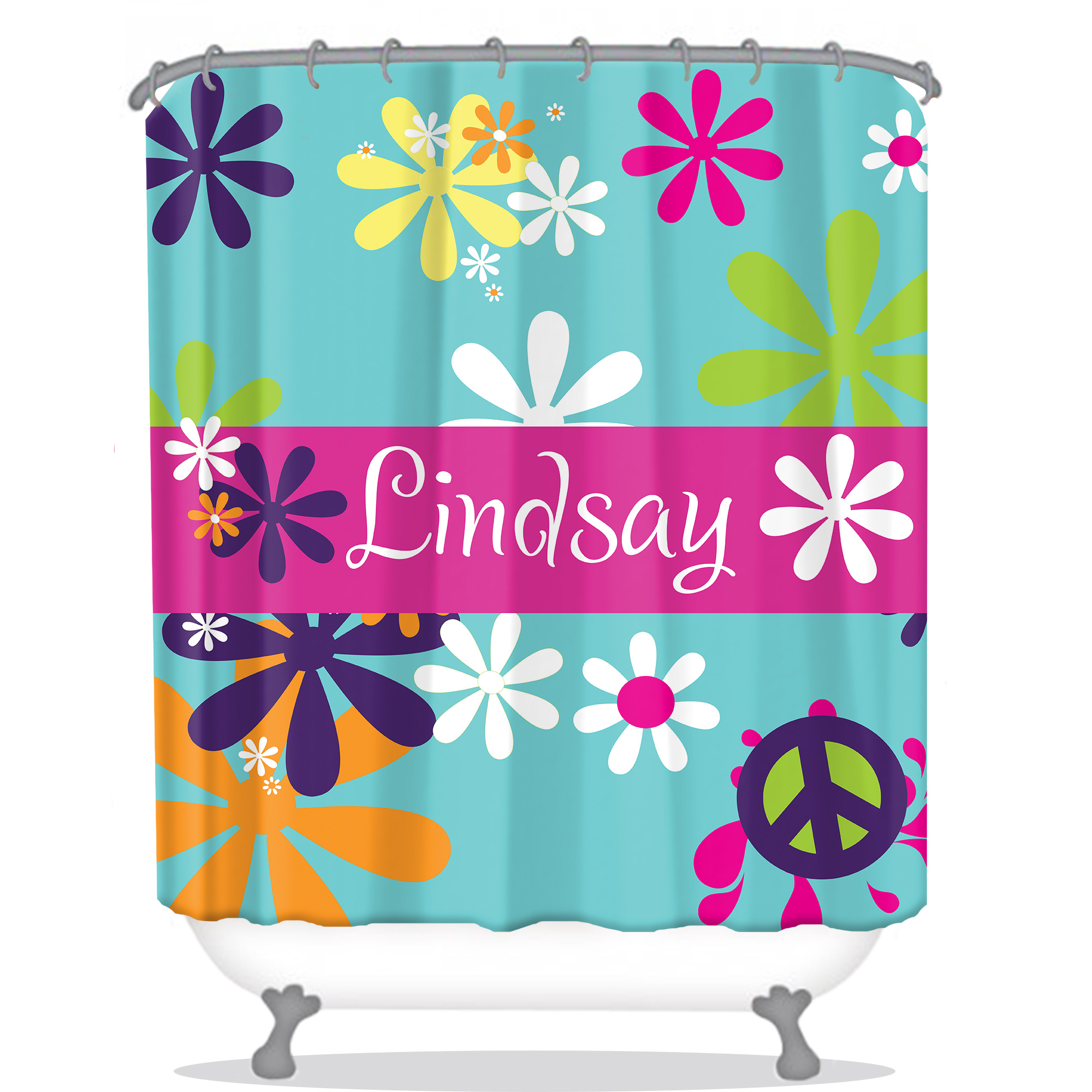 Hippie Chick Personalized Shower Curtain | Monogrammed Shower Curtain ...