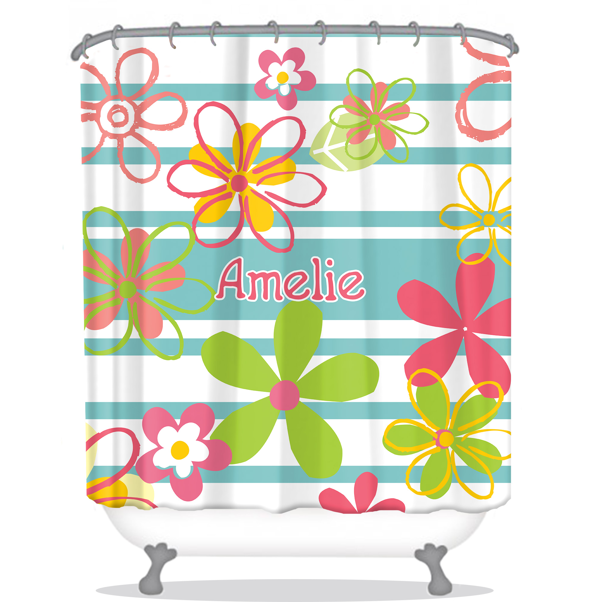 Flowers Personalized Shower Curtain Monogrammed Shower Curtain Custom Shower Curtain