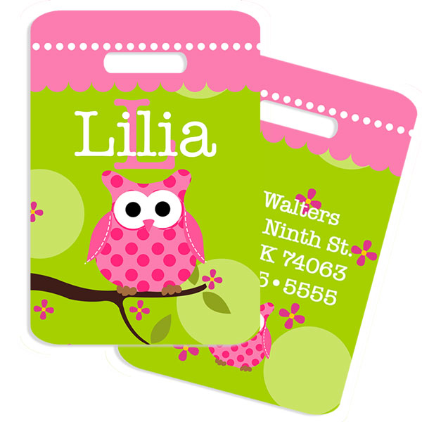 Owl Girls Bag Tag Girls Monogrammed Bag Tags
