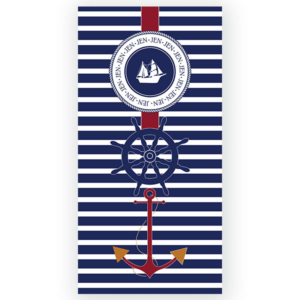 Nautical Anchor Personalized Beach Towel | Anchor Personalized Beach ...