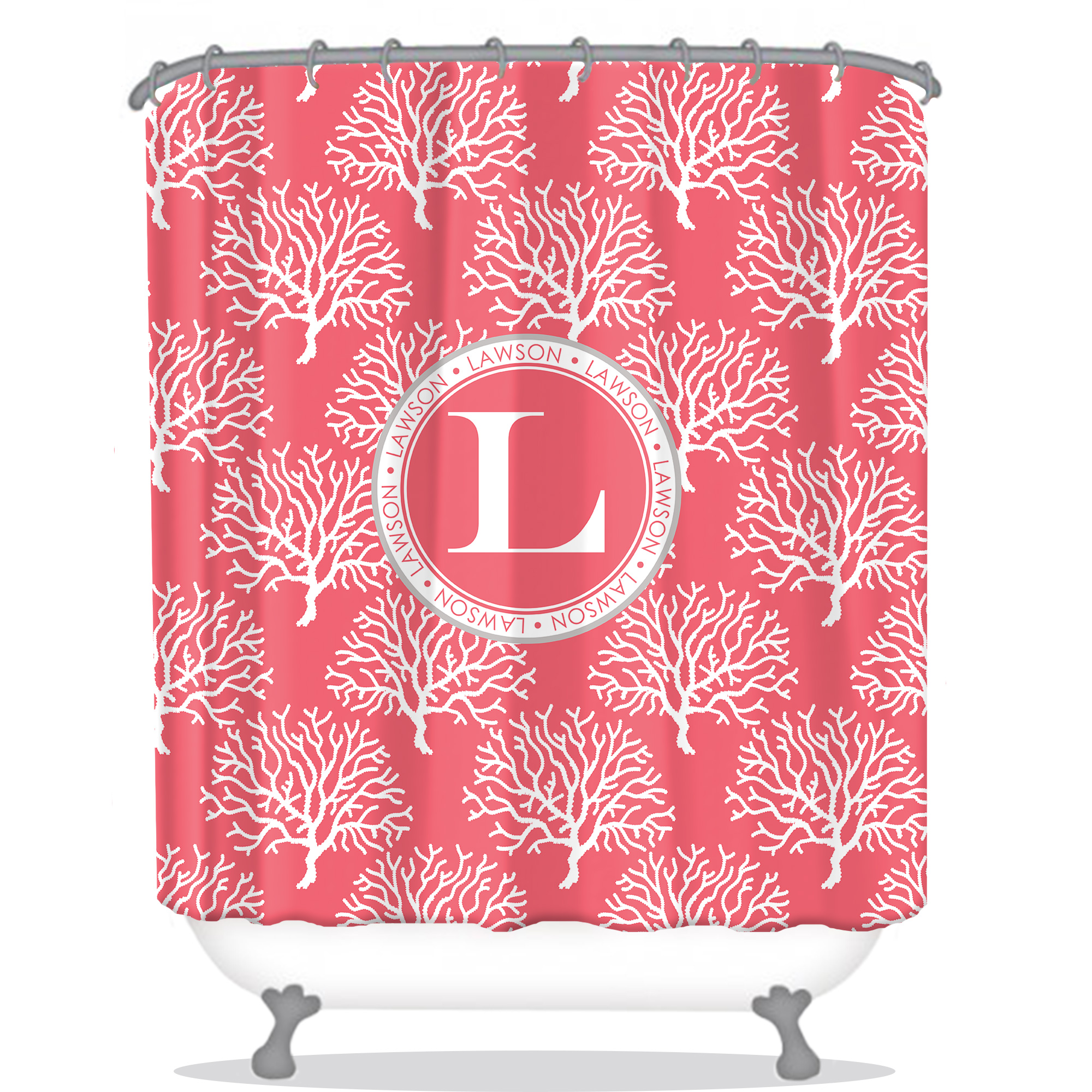 Coral Personalized Shower Curtain Monogrammed Shower Curtain Custom Shower Curtain