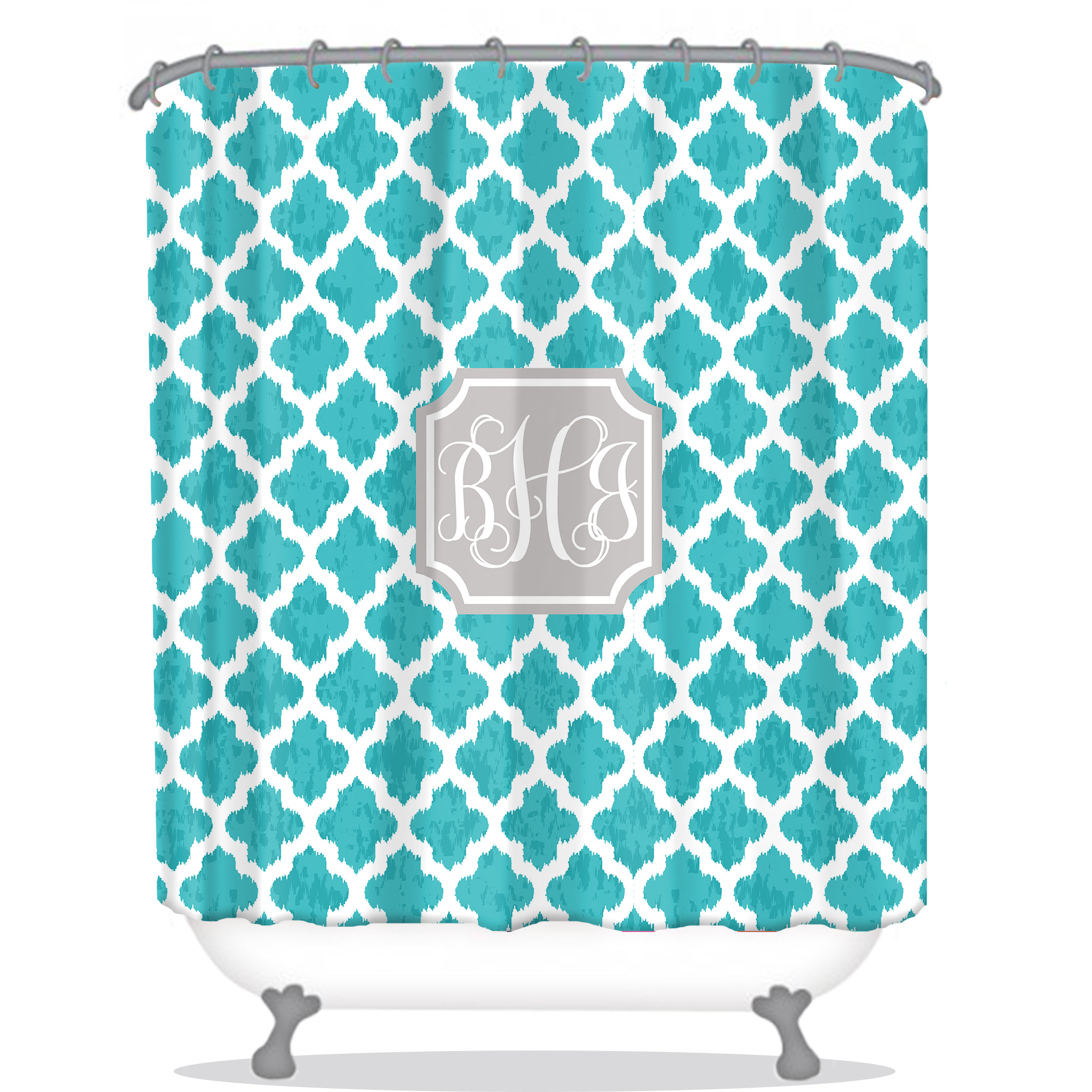 Aqua Chevron Shower Curtain - Chevron ikat personalized shower curtain
