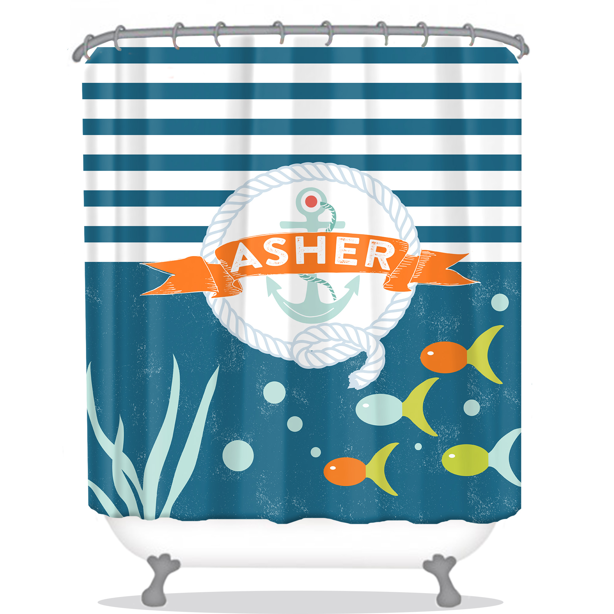Nautical Personalized Shower Curtain Anchor And Fish Kids Shower Curtain Anchor Personalized