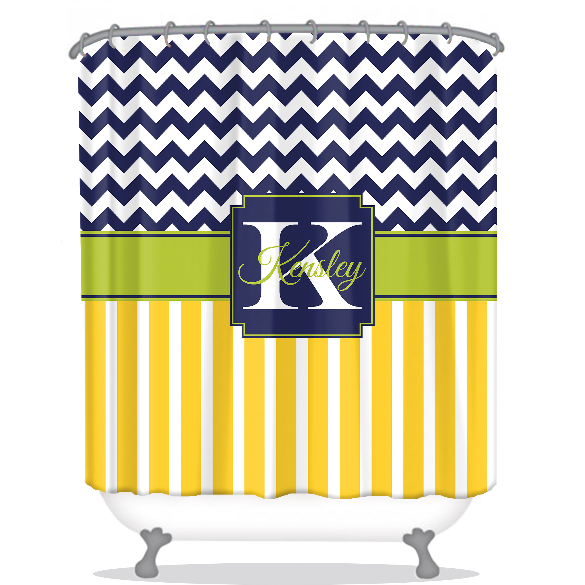 Striped Shower Curtain Chevron Personalized Shower Curtain Monogrammed Sh
