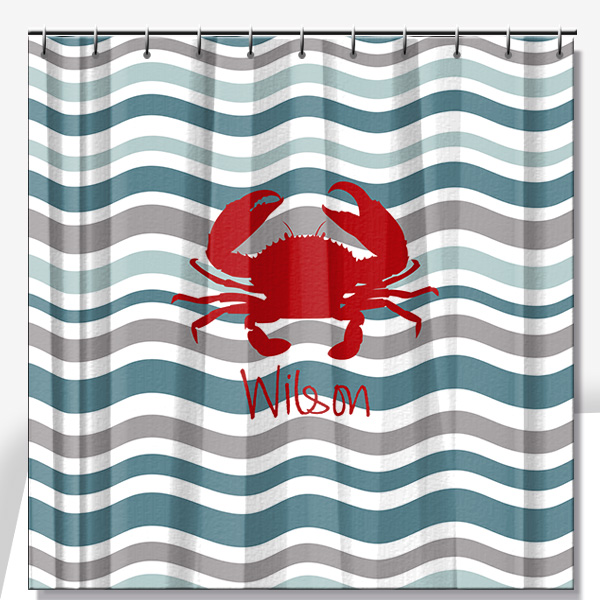 Crab Towel | Waves Personalized Beach Towel | Nautical Personalized ...