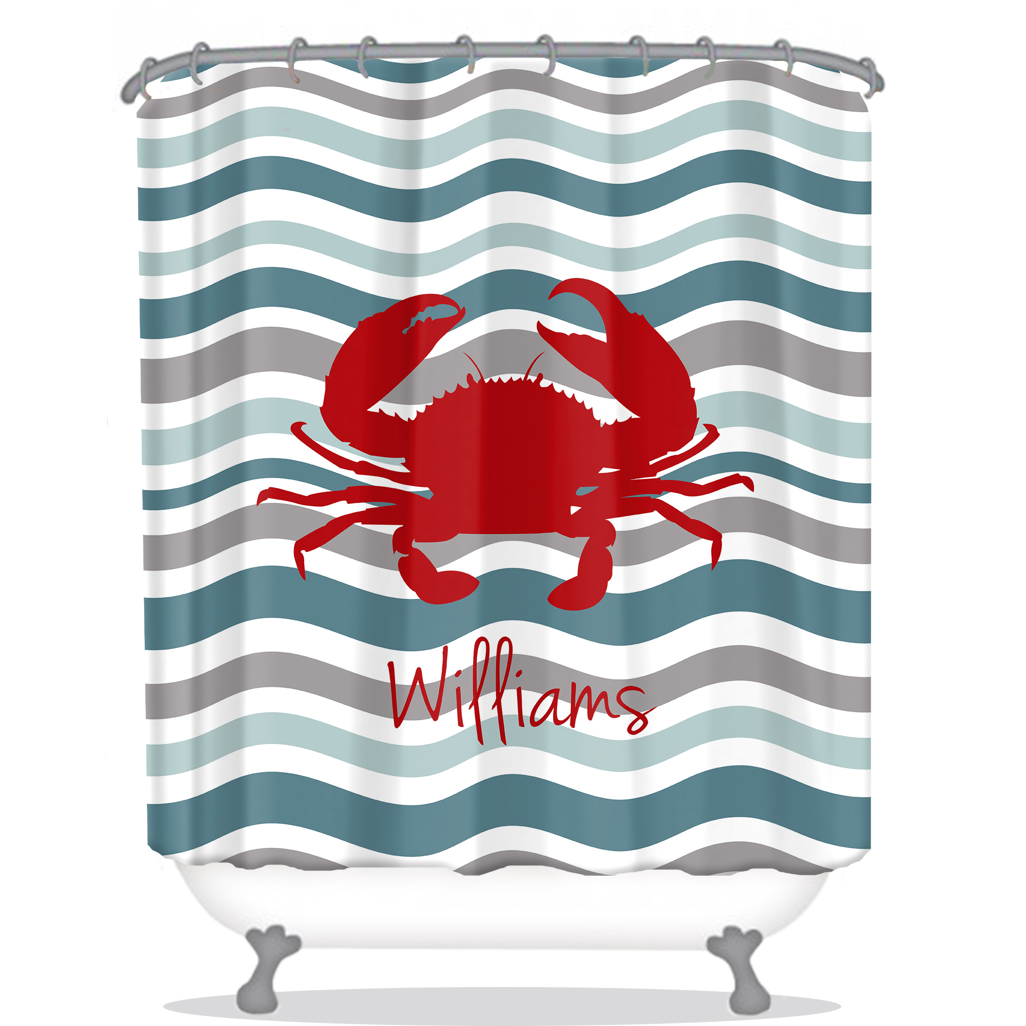 Delightful Waves Personalized Shower Curtain Matching Towel