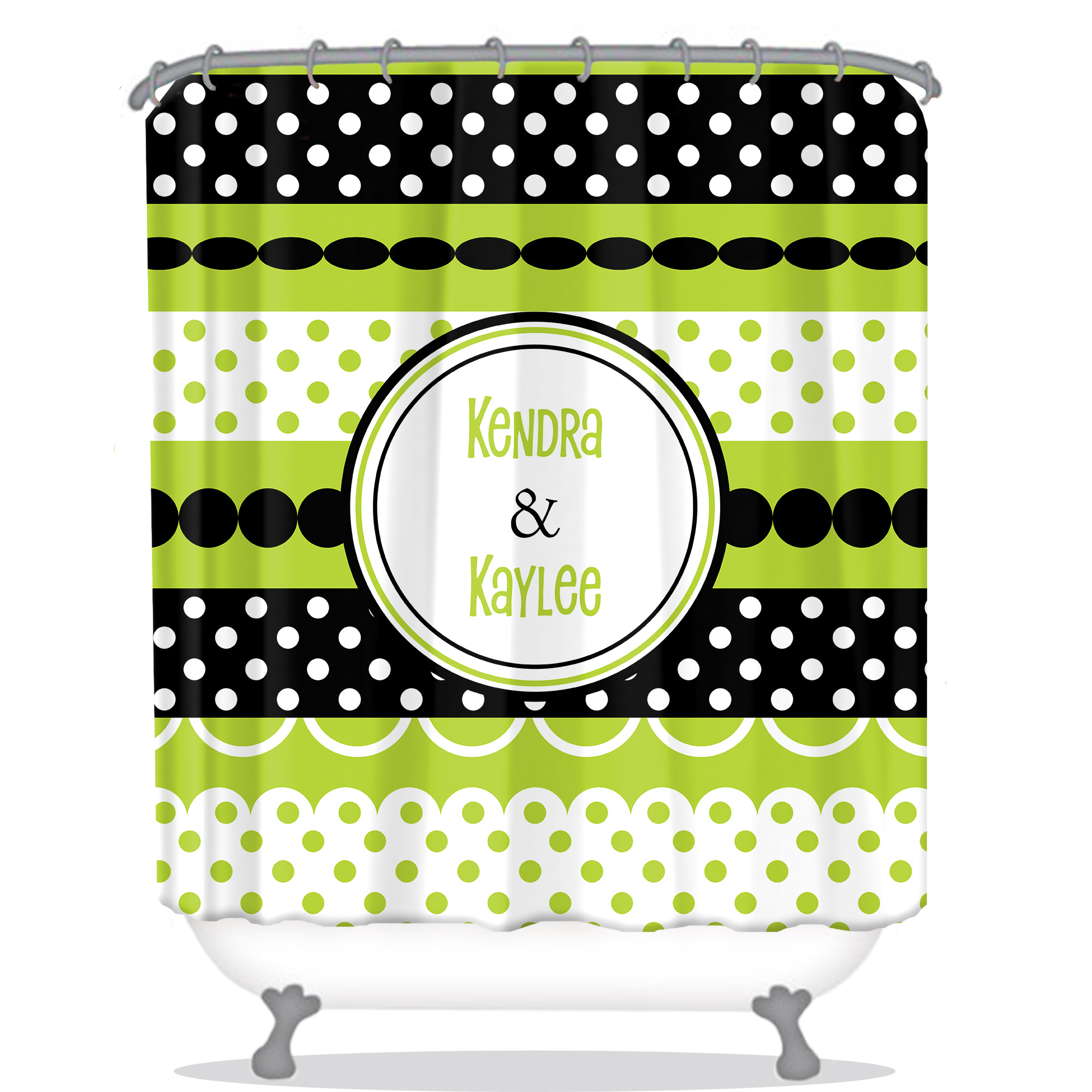Dot Shower Curtain | Girly Shower Curtain | Modern Personalized Shower ...