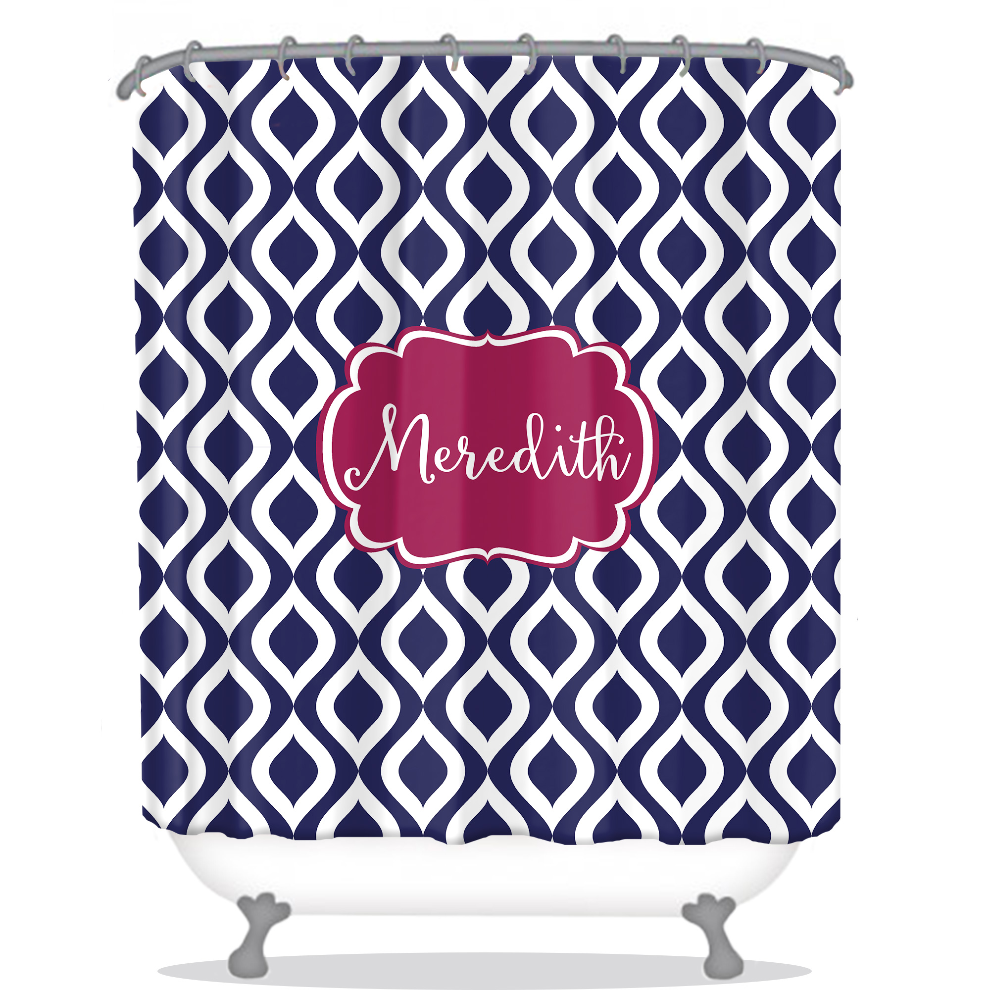 Navy Shower Curtain Modern Personalized Shower Curtain Monogrammed Shower Curtain Custom