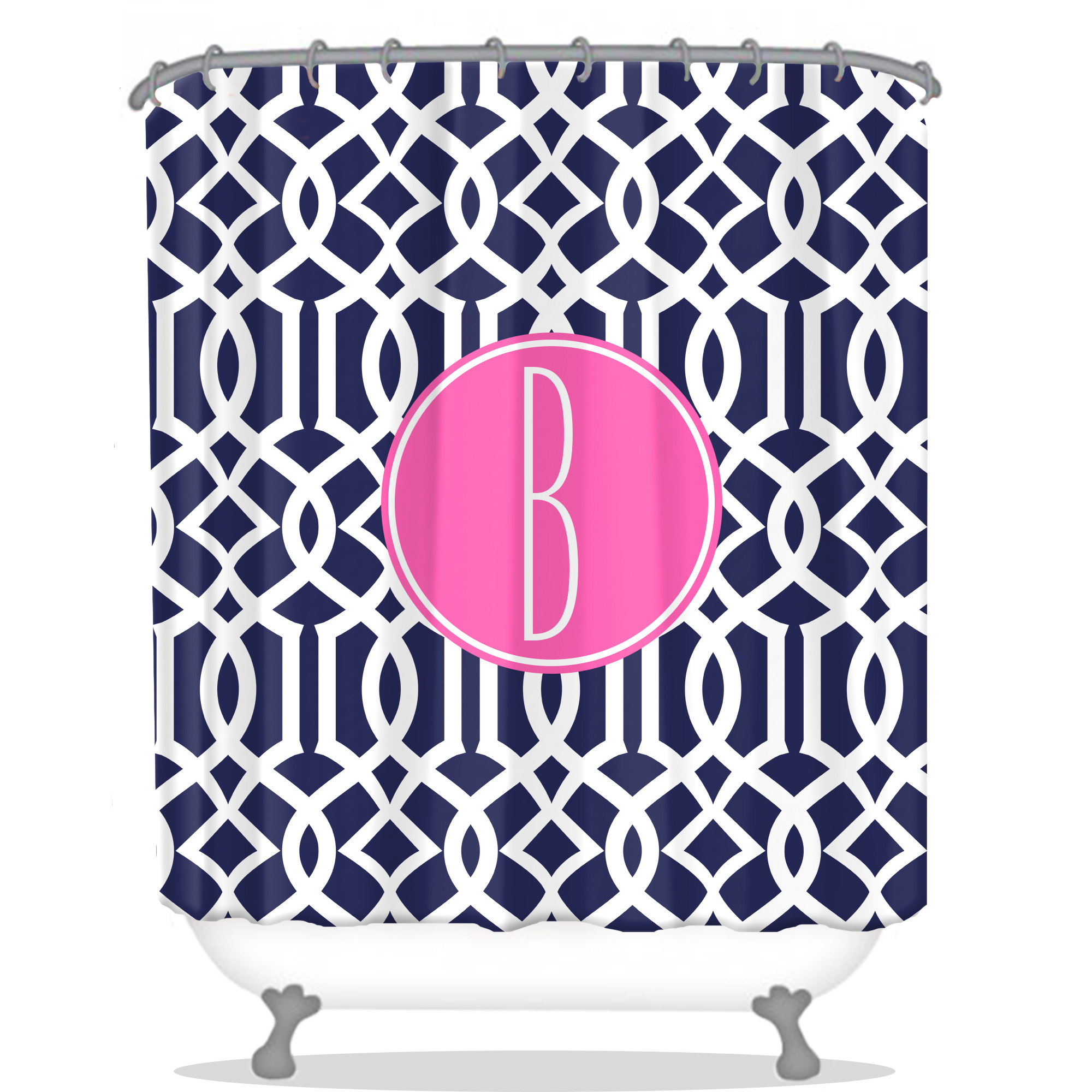 Lattice Print Personalized Shower Curtain Navy Shower Curtain Modern Personalized Shower