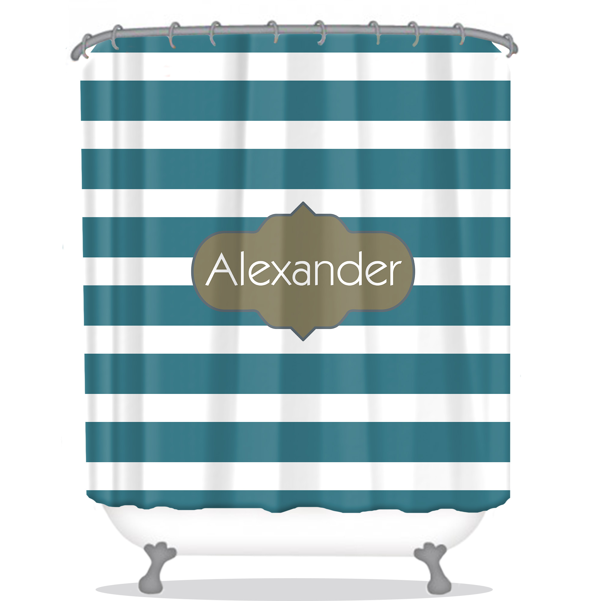 Sripes Personalized Shower Curtain | Monogrammed Shower Curtain ...