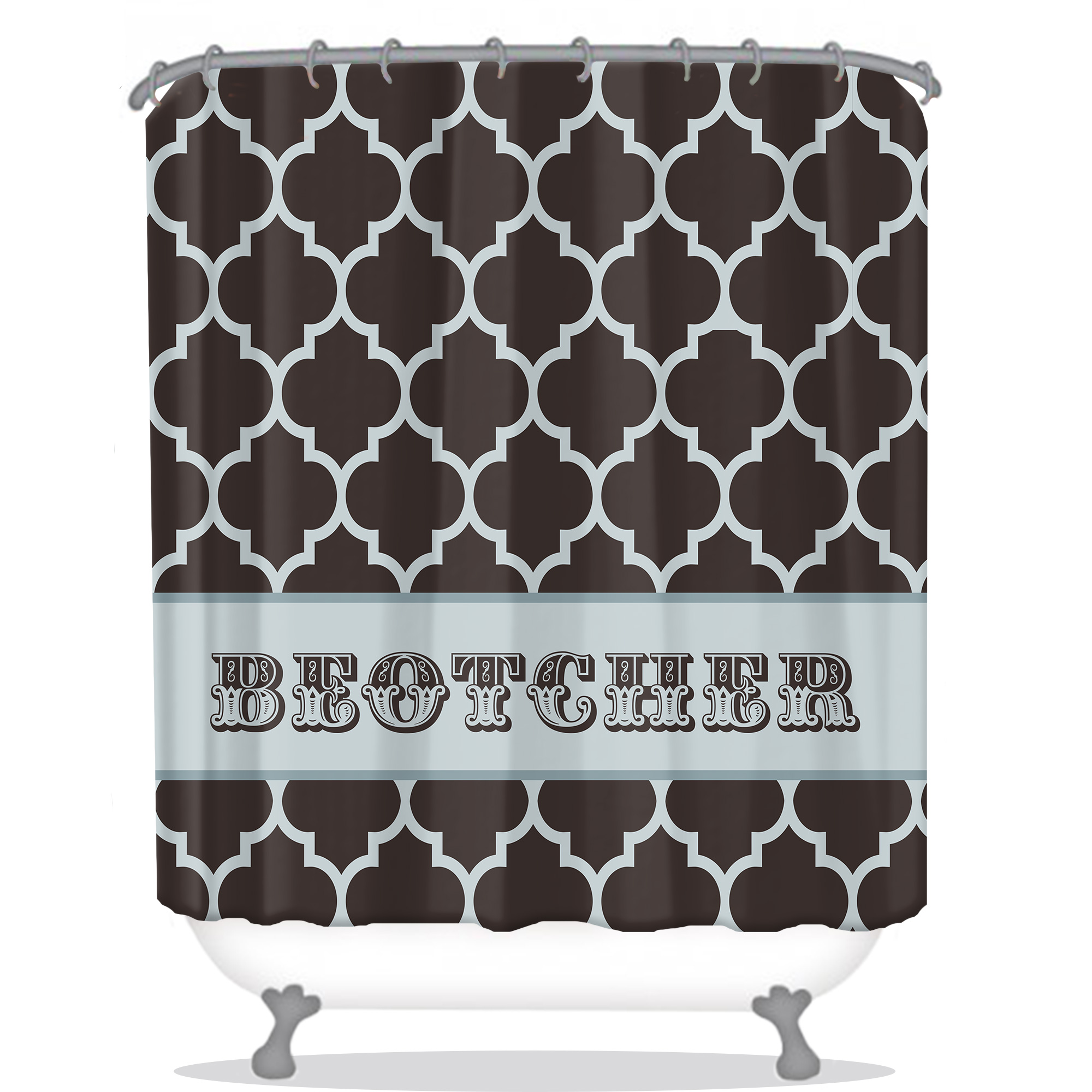 Quatrefoil Custom Personalized Shower Curtain