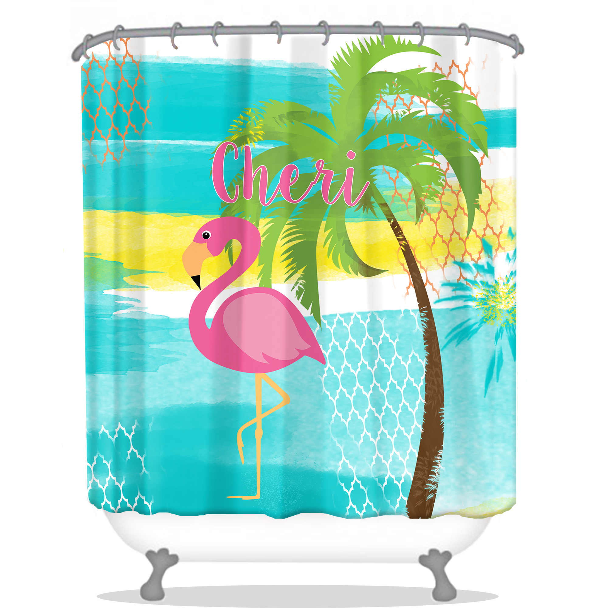 Pink Flamingo Personalized Shower Curtain Personalized Shower Curtains Flamingo Modern