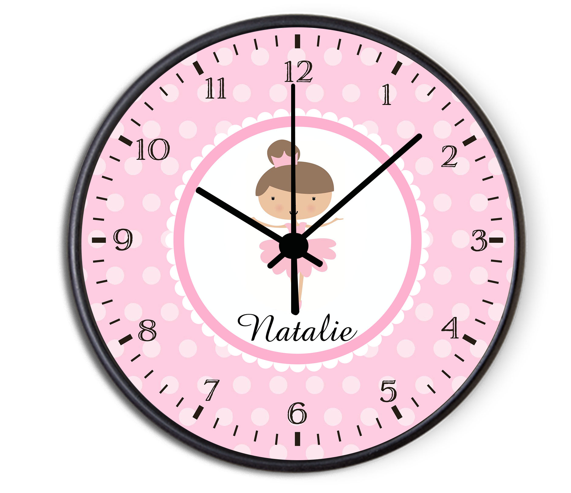 ballerina personalized childrens decorative wall clock. Black Bedroom Furniture Sets. Home Design Ideas