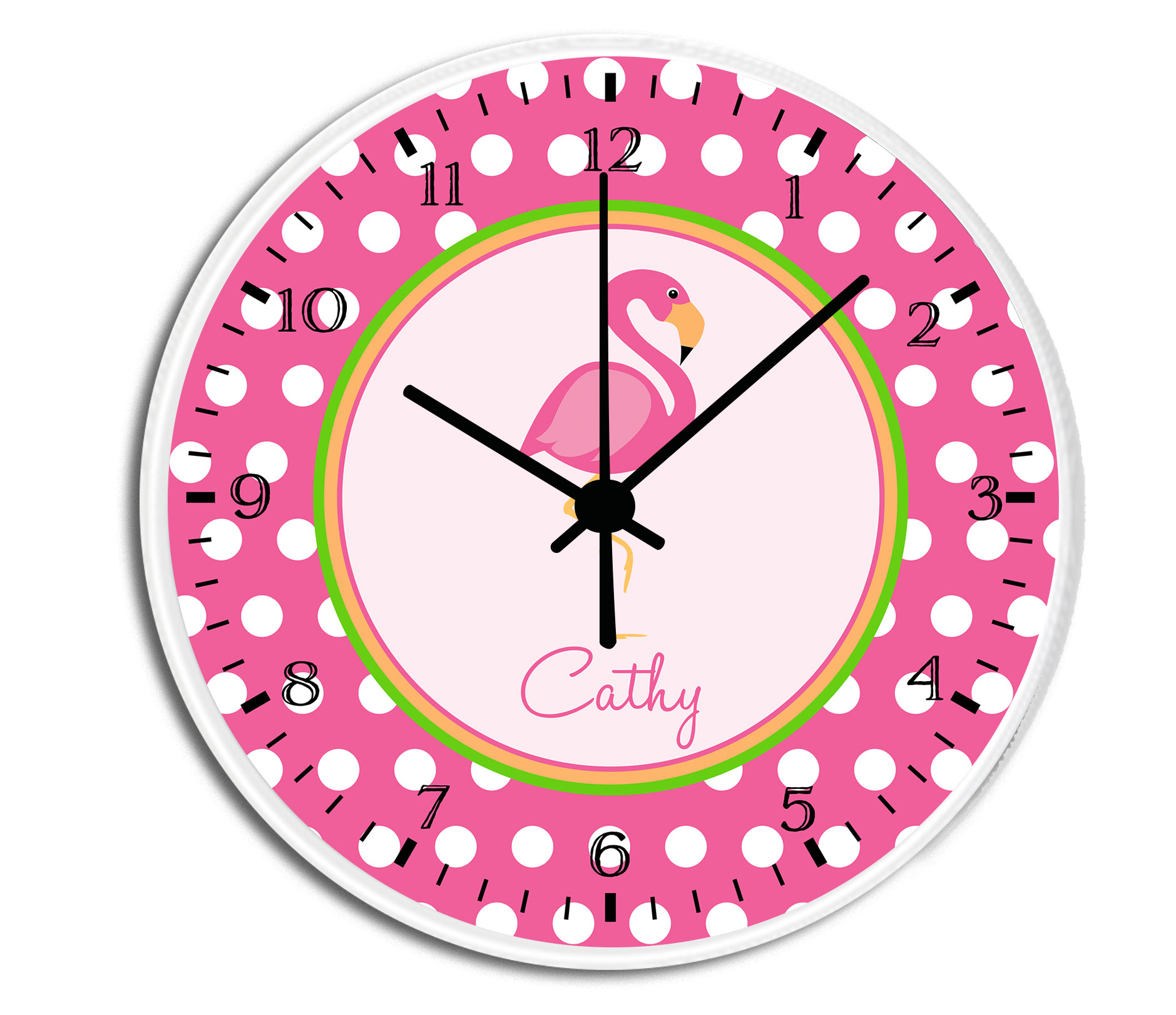 Pink flamingo personalized childrens decorative wall clock wall pink flamingo clock amipublicfo Image collections