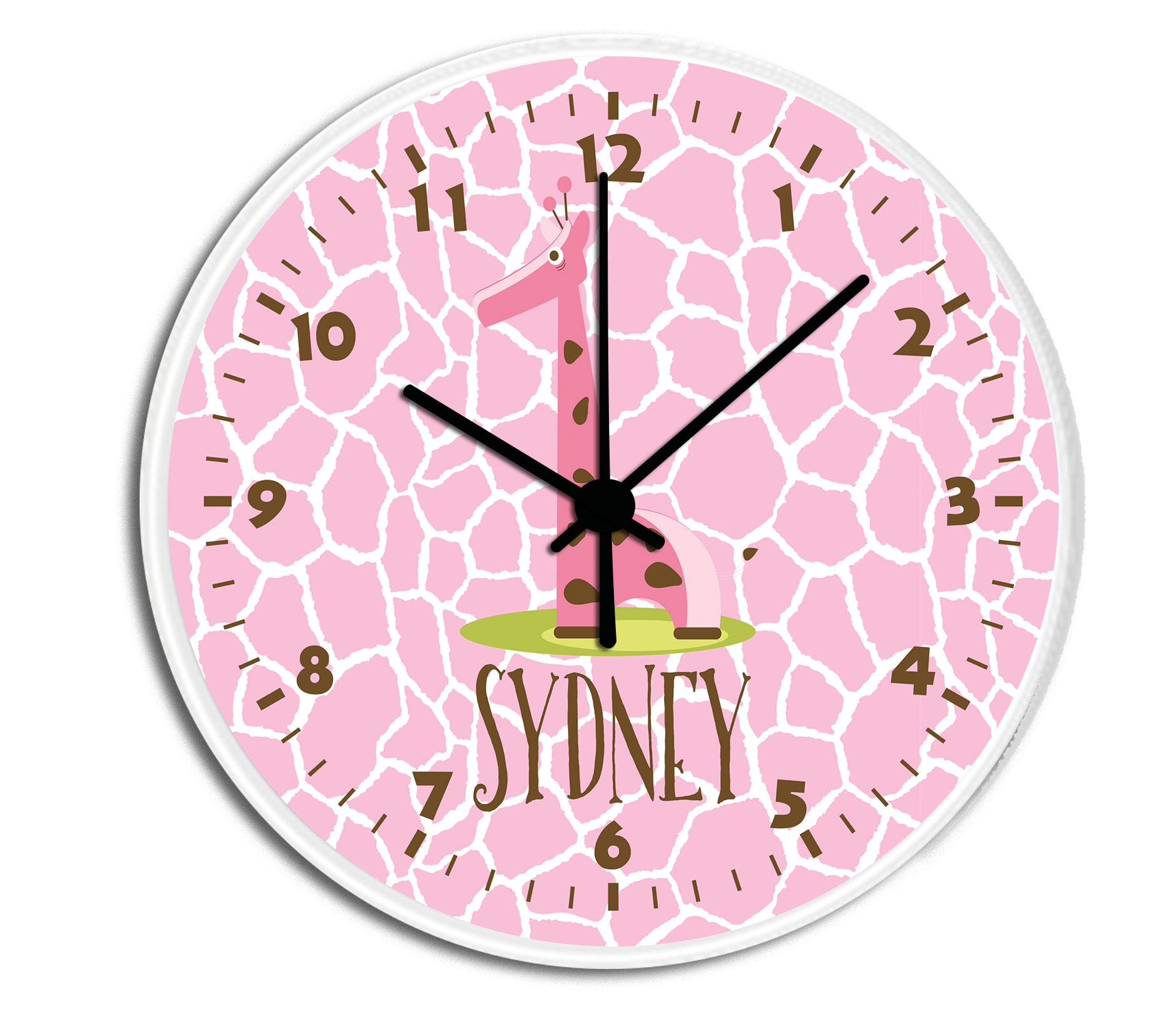 Giraffe personalized childrens decorative wall clock wall clock giraffe girl personalized clock amipublicfo Choice Image