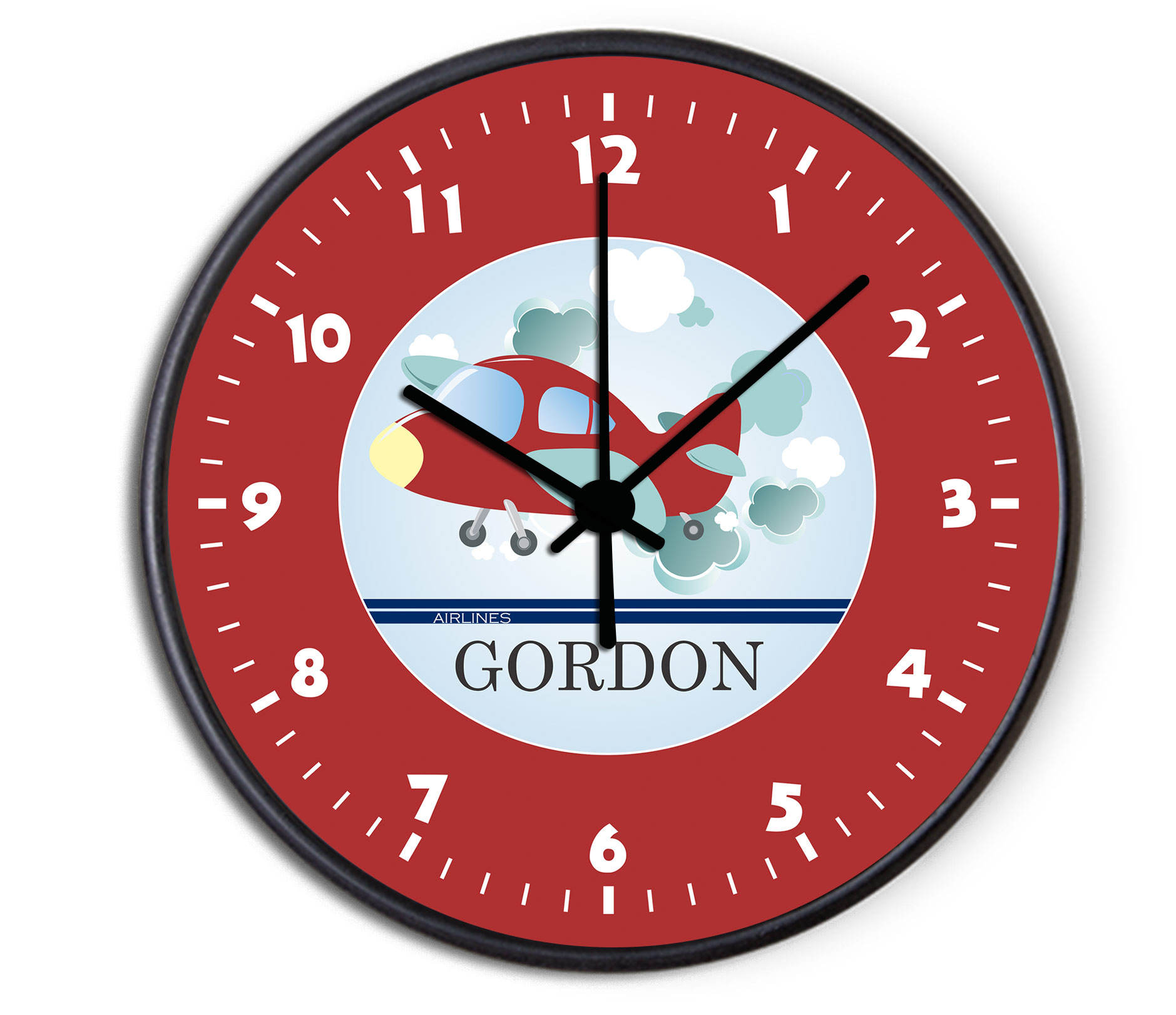 Airplane Personalized Childrens Decorative Wall Clock
