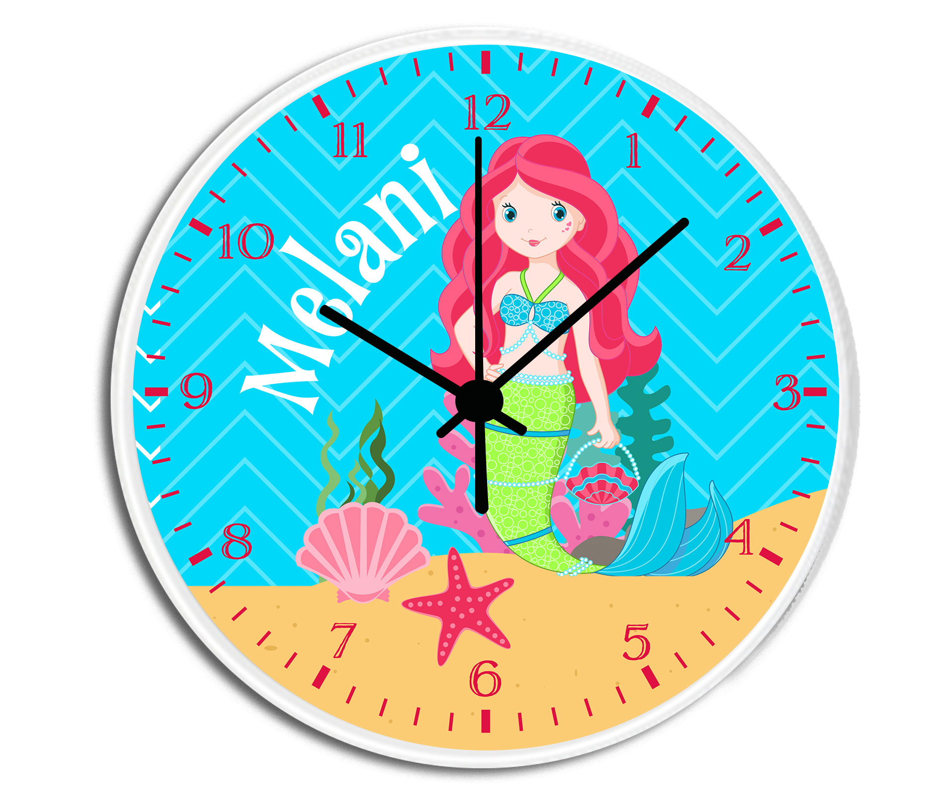 Mermaid girls personalized childrens decorative wall clock wall mermaid clock amipublicfo Gallery