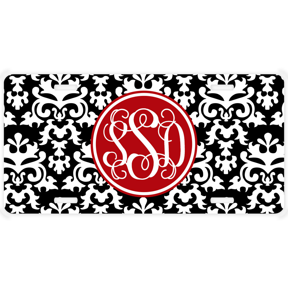 Damask Print Personalized Decorative Car Tag | Personalized ...