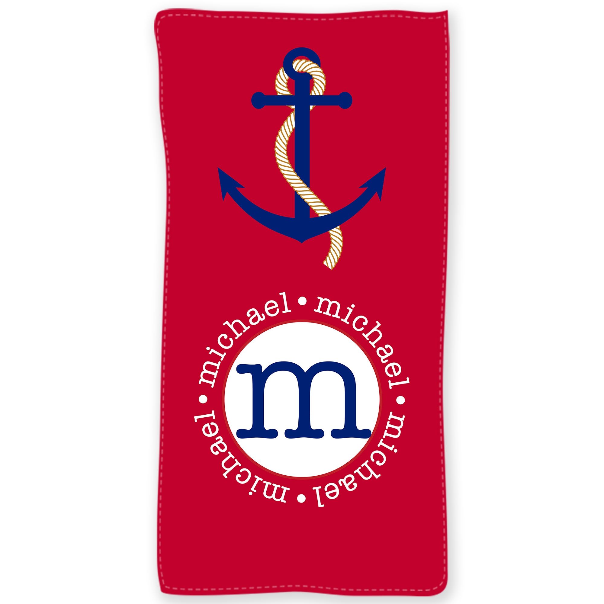 Nautical Flags Bath Towels: Nautical Anchor Personalized Beach Towel