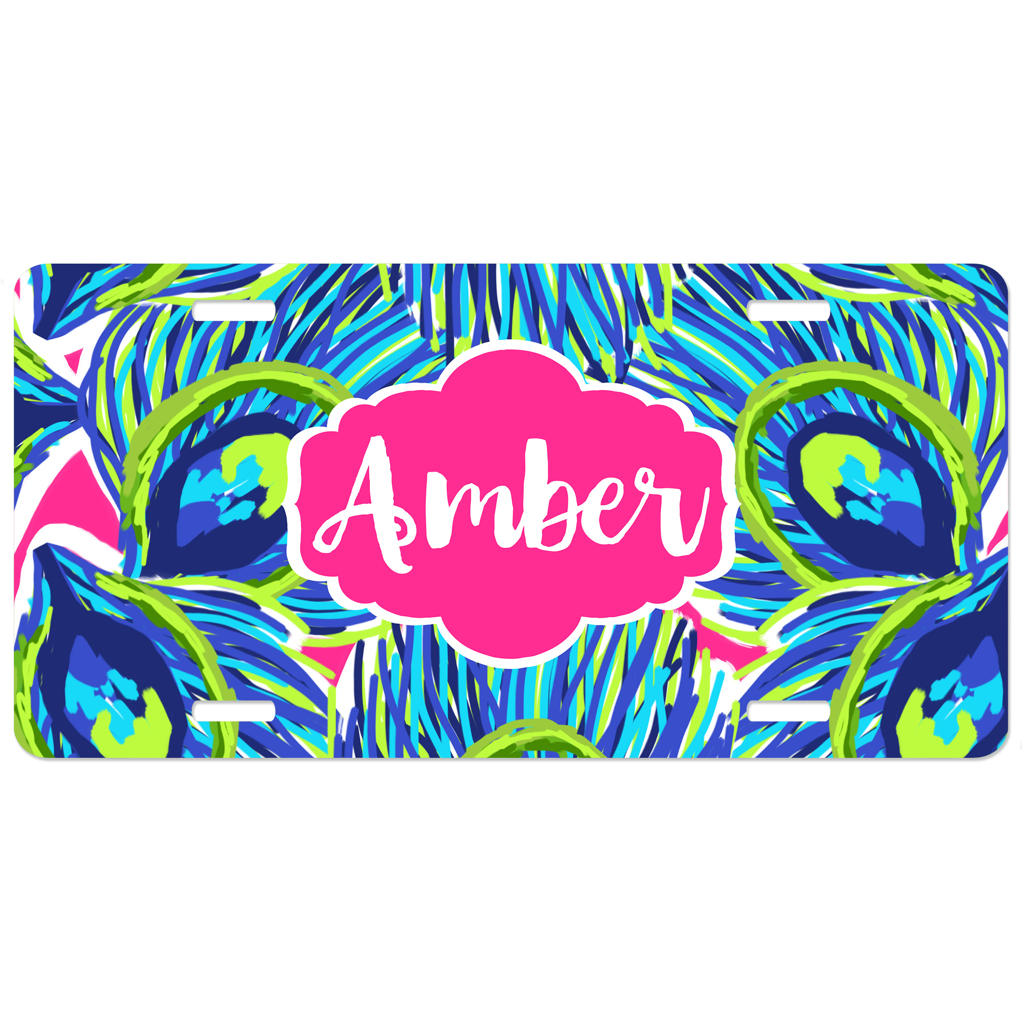 peacock feathers print personalized car tag