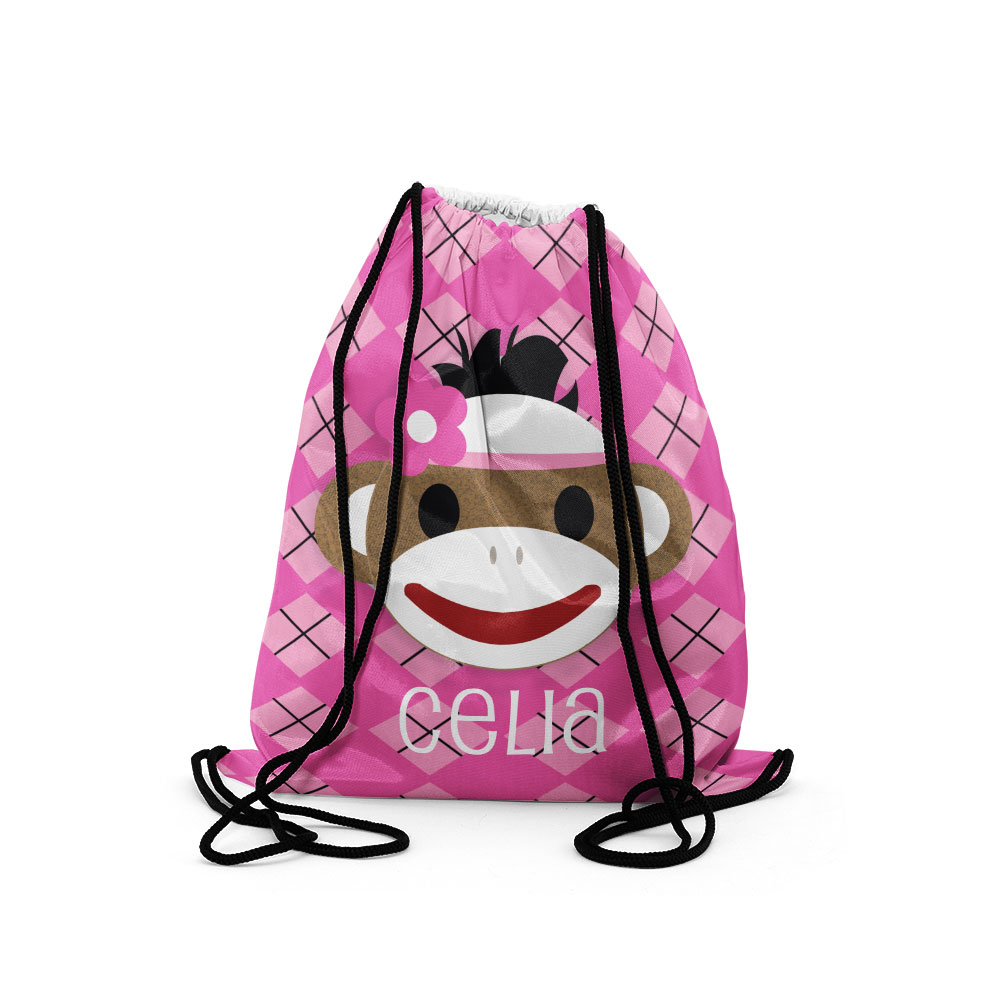 Personalized Drawstring Backpacks, Custom Sock Monkey Girl Kids ...